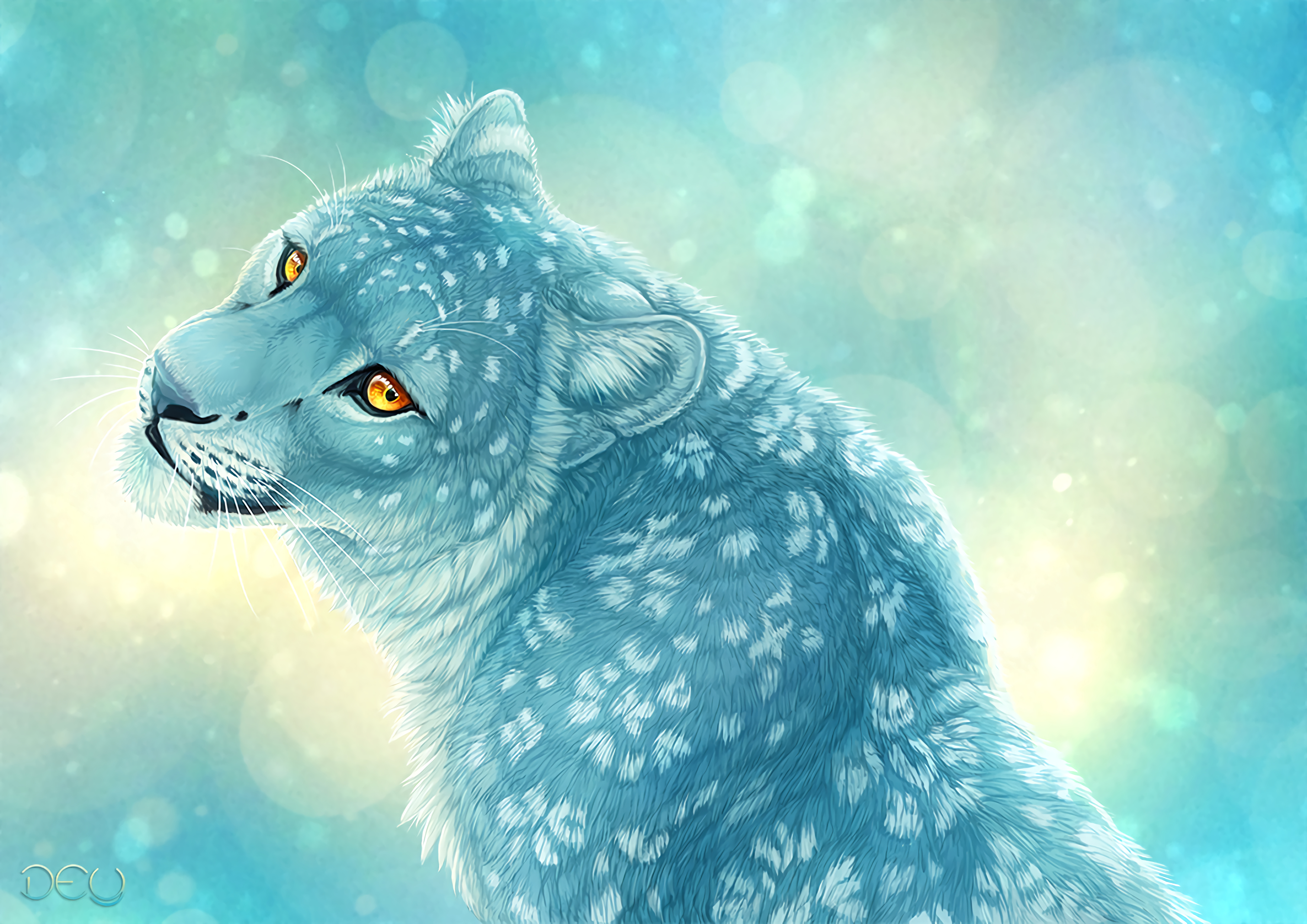 112200 download wallpaper Leopard, Art, Irbis, Snow Leopard screensavers and pictures for free