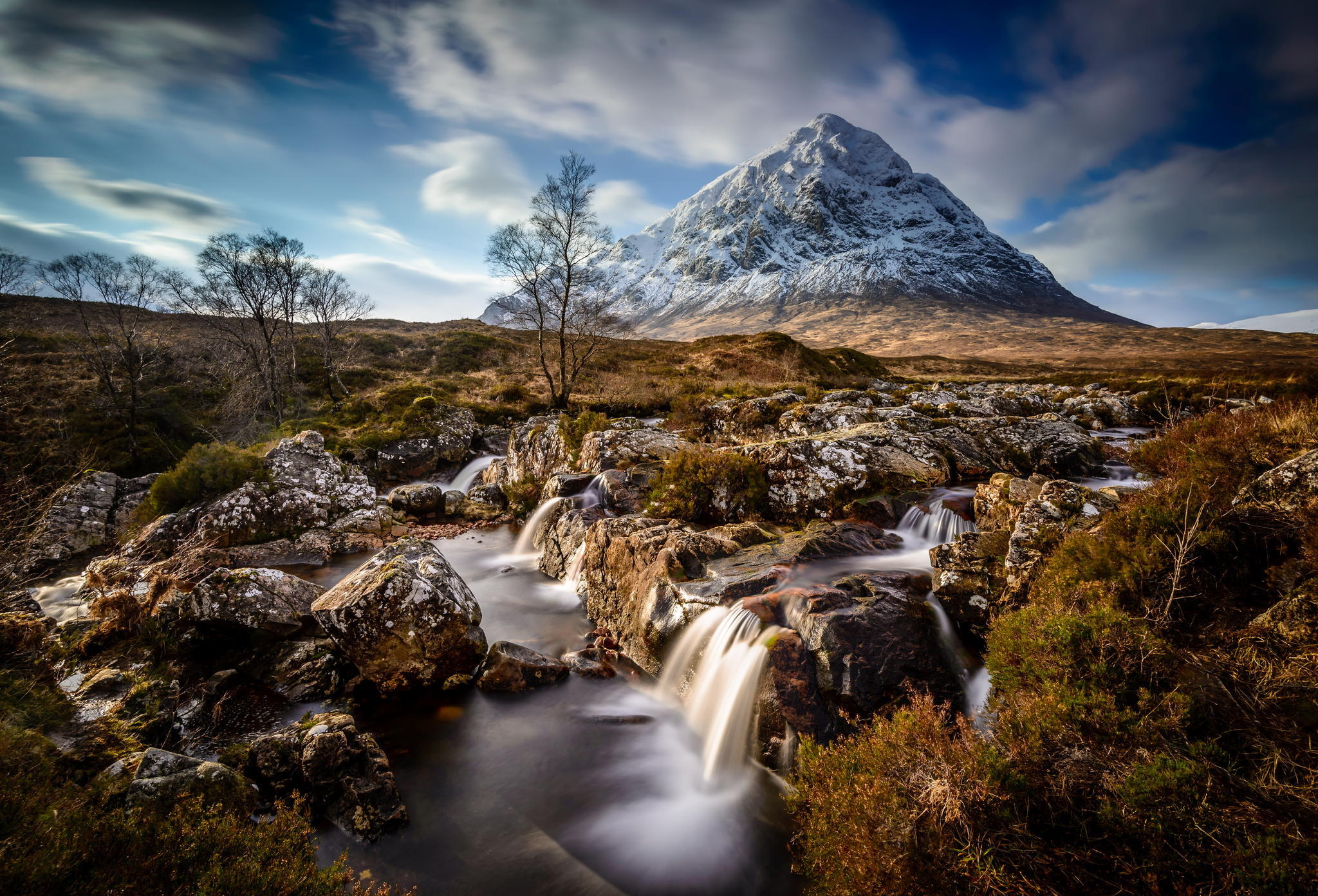 124037 download wallpaper Mountains, Nature, Rivers, Trees, Grass, Stones screensavers and pictures for free