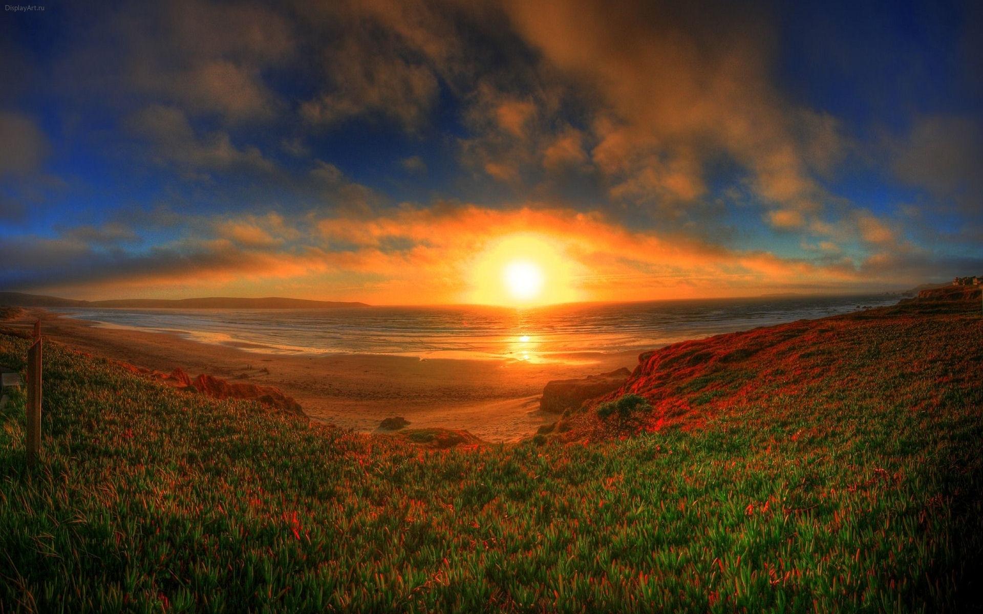 1199 скачать обои Пейзаж, Закат, Трава, Небо, Арт, Солнце - заставки и картинки бесплатно
