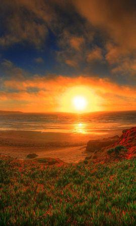 1199 télécharger le fond d'écran Paysage, Coucher De Soleil, Herbe, Sky, Art, Sun - économiseurs d'écran et images gratuitement
