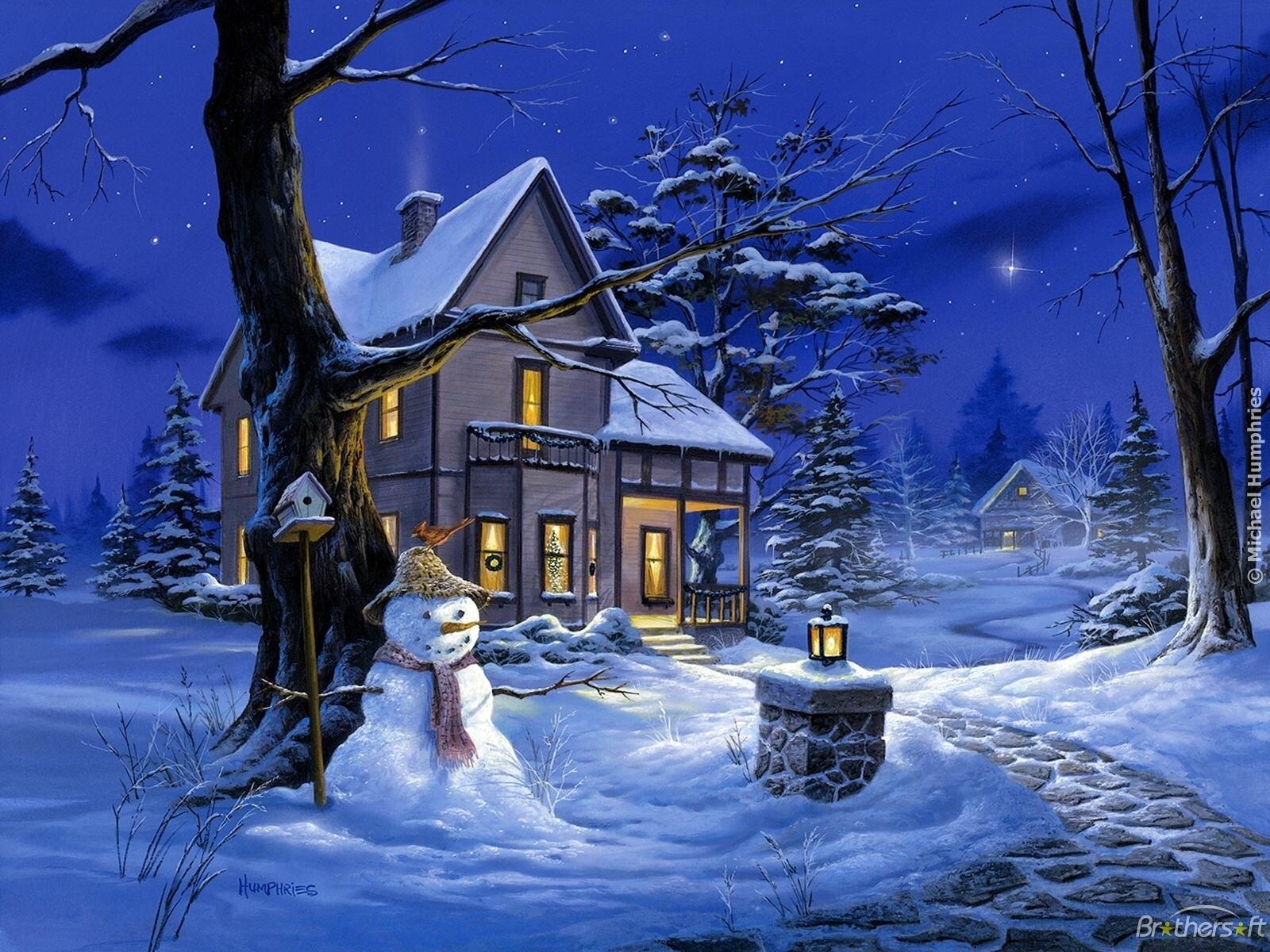 13802 скачать обои Пейзаж, Зима, Новый Год (New Year), Рождество (Christmas, Xmas), Снег, Дома, Рисунки - заставки и картинки бесплатно