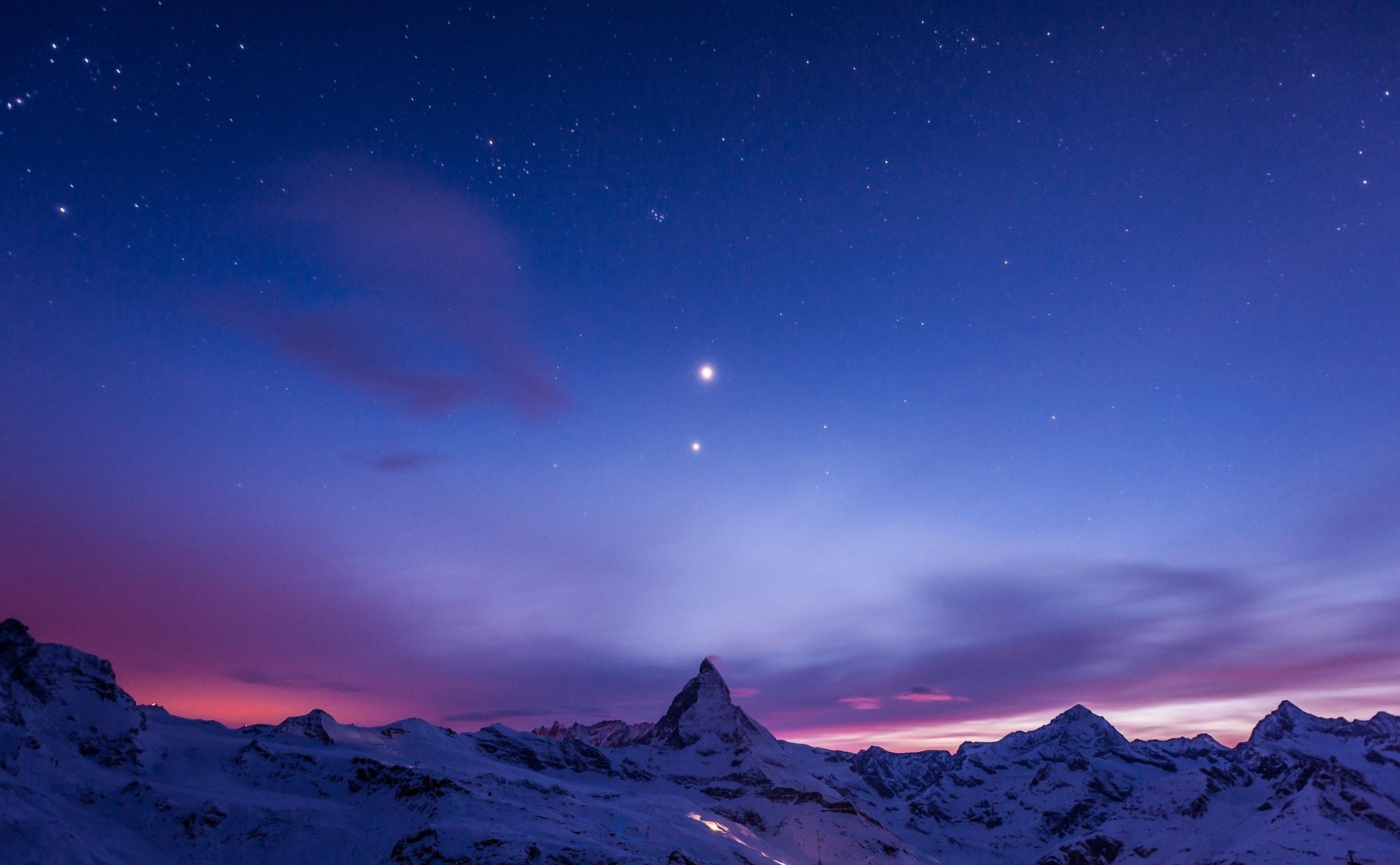 131883 скачать обои Природа, Ночь, Снег, Небо, Горы, Звезды - заставки и картинки бесплатно