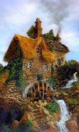 6899 скачать обои Дома, Водопады, Рисунки - заставки и картинки бесплатно