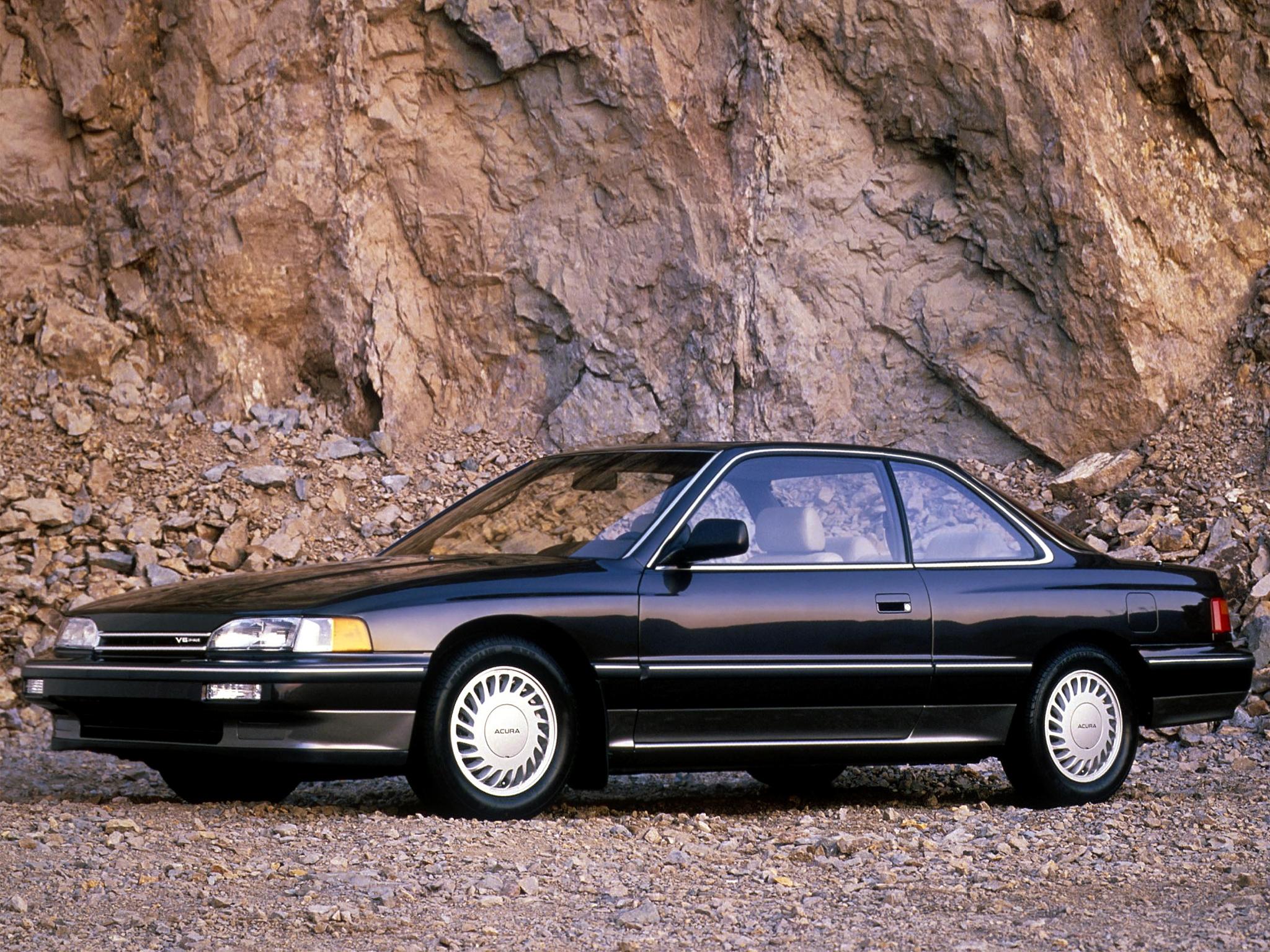 102301 скачать обои Тачки (Cars), Акура (Acura), Legend, Черная, Купе, Вид Сбоку, Машины, Скалы - заставки и картинки бесплатно