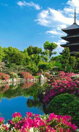 4144 скачать обои Растения, Пейзаж, Цветы, Река, Небо, Азия - заставки и картинки бесплатно