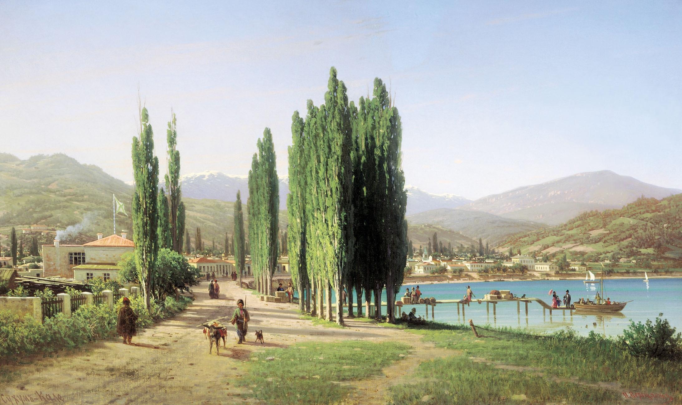 125904 Hintergrundbild herunterladen Natur, Bäume, Kunst, Junge, Malerei, Vieh, Rinder, Wershchaschin, Wereschtschagin - Bildschirmschoner und Bilder kostenlos