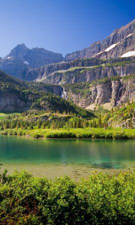127047 Salvapantallas y fondos de pantalla Hierba en tu teléfono. Descarga imágenes de Naturaleza, Lago, Hierba, Cielo, Verano, Montañas gratis