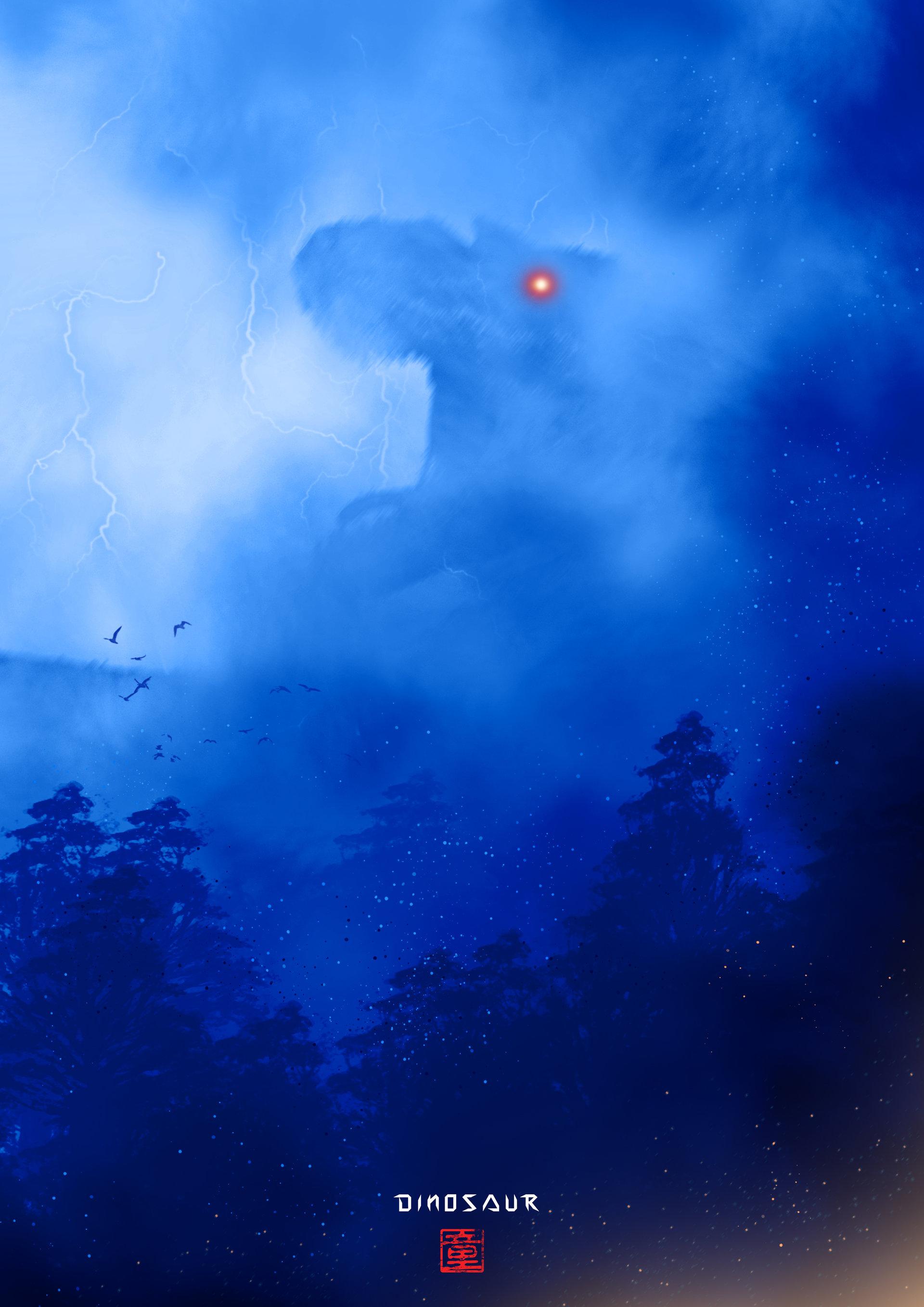 98529 скачать обои Динозавр, Монстр, Силуэт, Арт, Туман, Молнии - заставки и картинки бесплатно