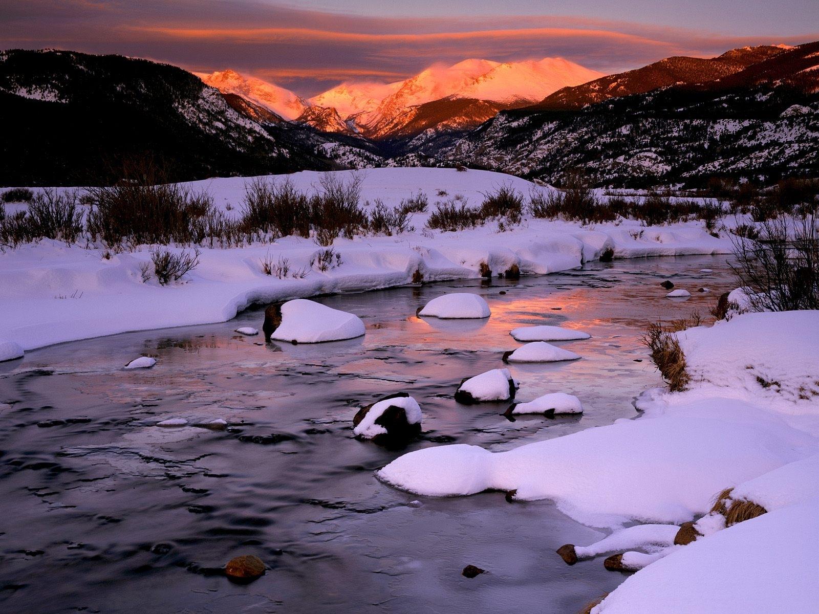 9202 скачать обои Пейзаж, Зима, Река, Горы - заставки и картинки бесплатно