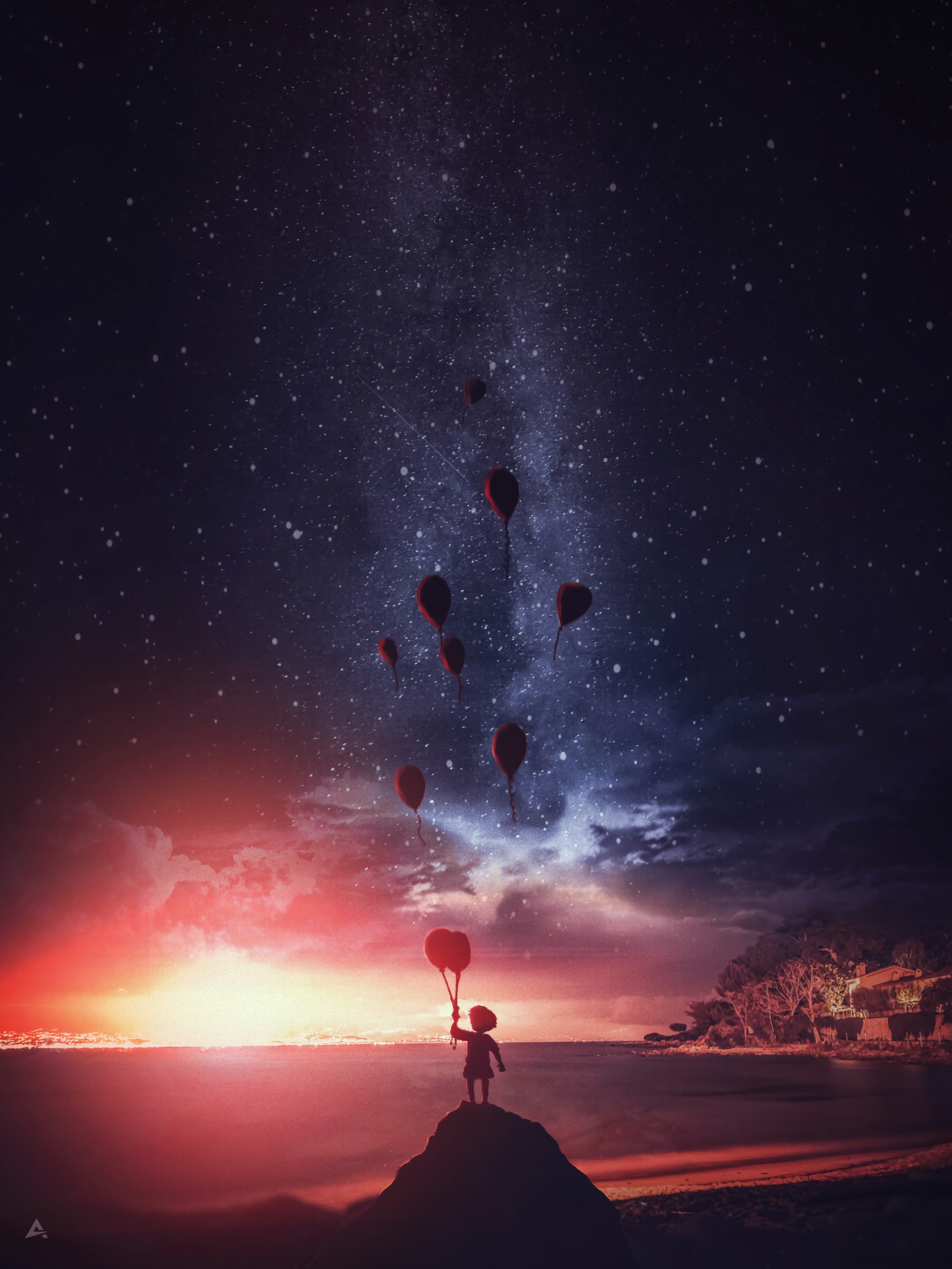 156041 Screensavers and Wallpapers Balloons for phone. Download Night, Balloons, Dark, Silhouette, Miscellanea, Miscellaneous, Child, Air Balloons pictures for free