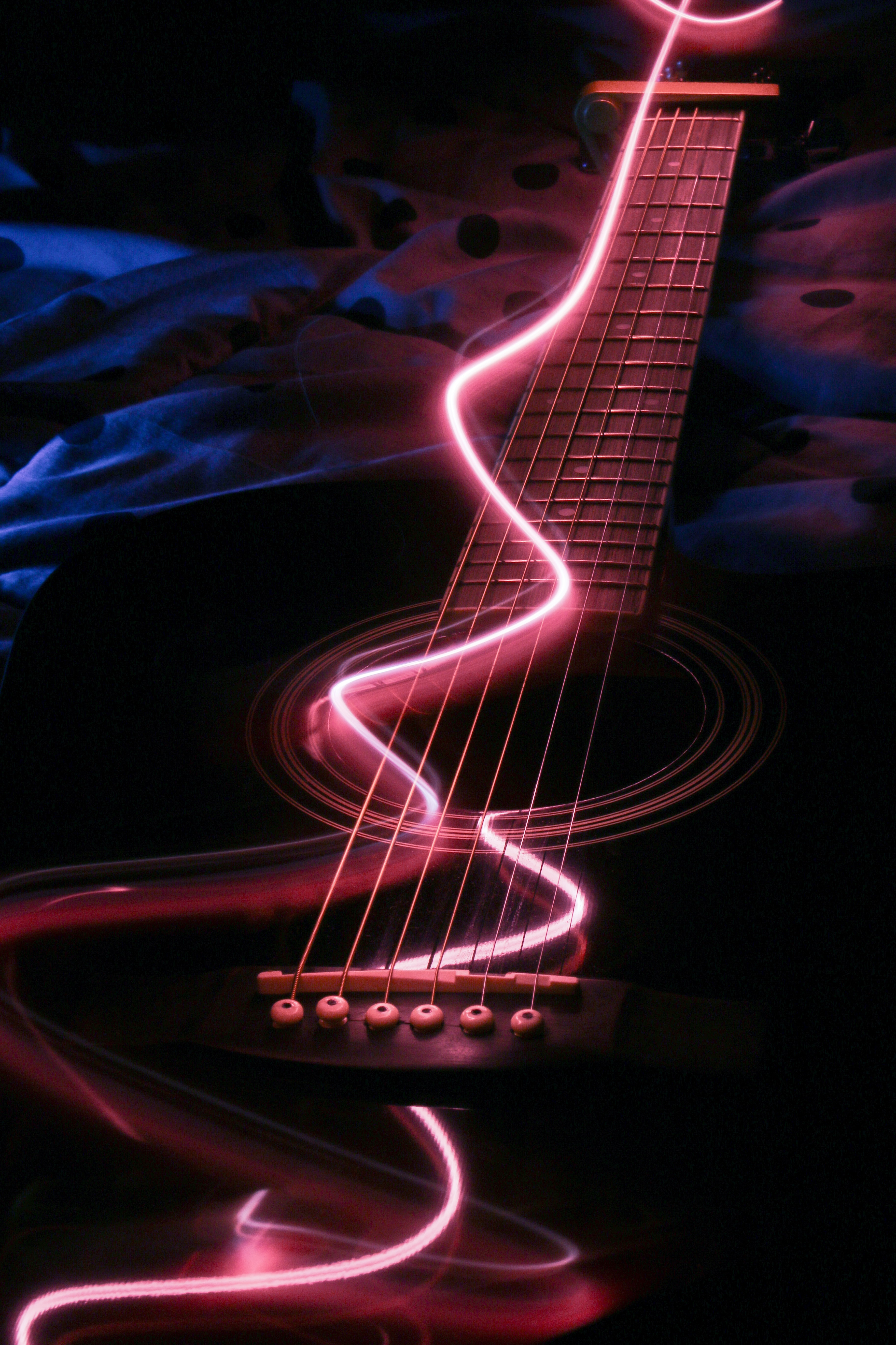 141160 download wallpaper Music, Guitar, Musical Instrument, Neon, Backlight, Illumination screensavers and pictures for free