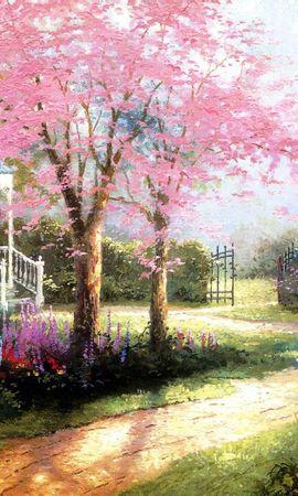 8715 скачать обои Пейзаж, Деревья, Дороги, Картины, Рисунки - заставки и картинки бесплатно