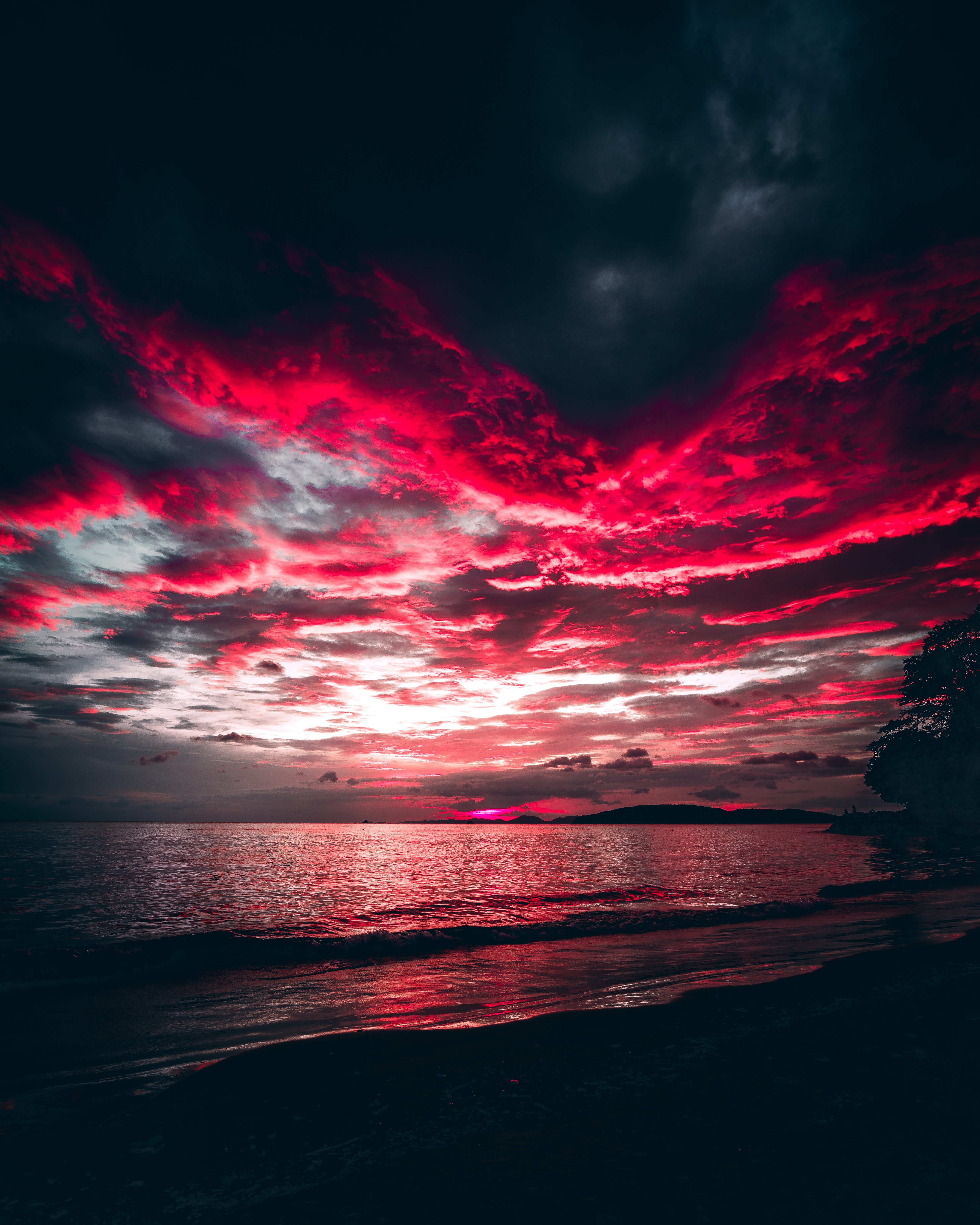 75819 download wallpaper Night, Nature, Sunset, Sea, Clouds, Shore, Bank screensavers and pictures for free