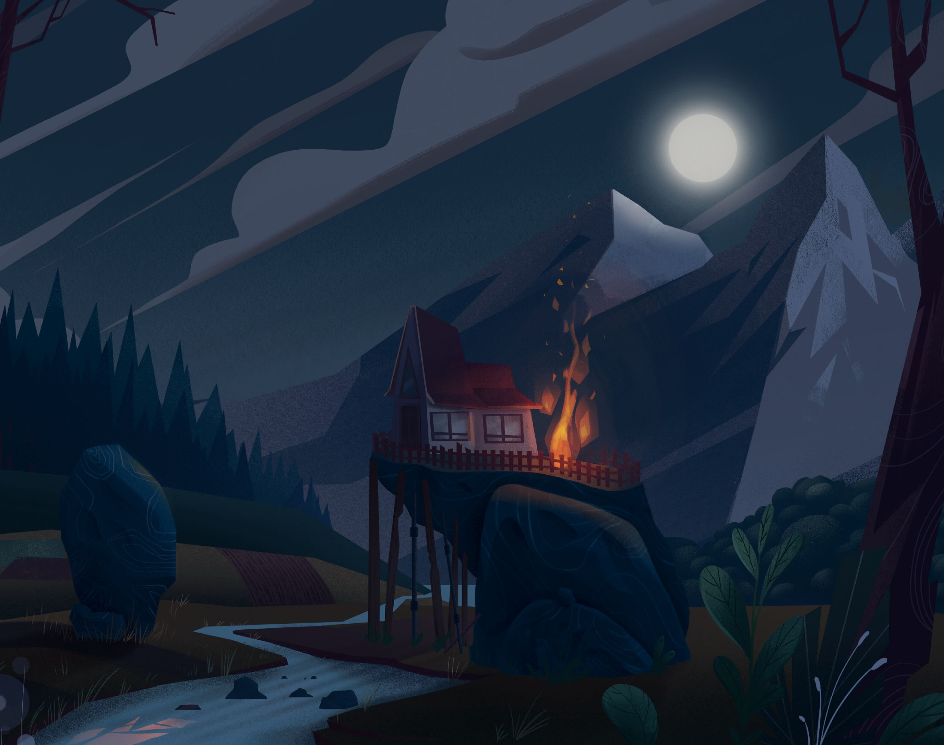 140088 Screensavers and Wallpapers Bonfire for phone. Download Art, Mountains, Bonfire, Night, Small House, Lodge, Hill pictures for free