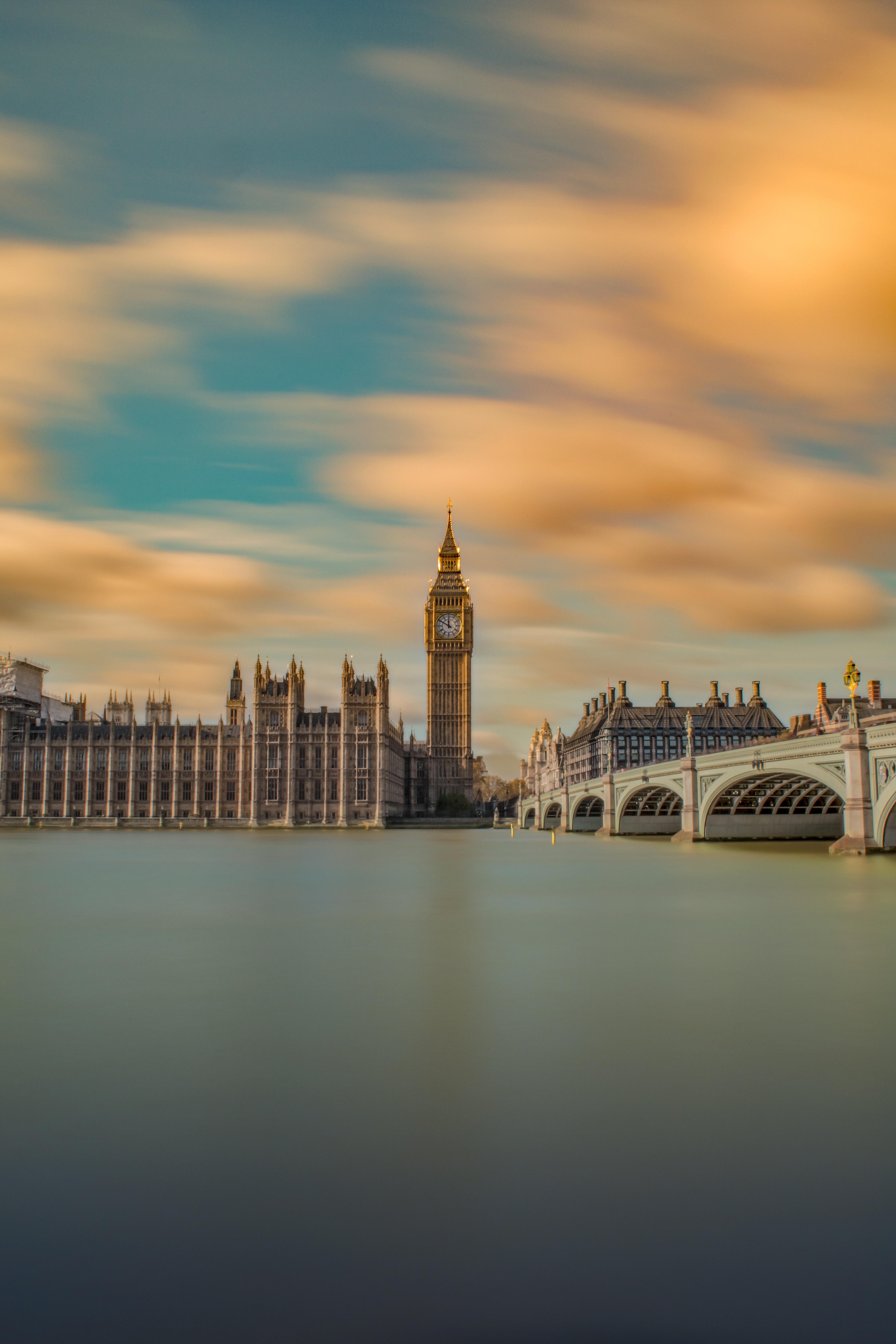 107180 Заставки и Обои Города на телефон. Скачать Биг Бен (Big Ben), Панорама, Мост, Река, Лондон, Великобритания, Города картинки бесплатно