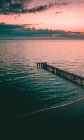 133124壁紙のダウンロード自然, 橋脚, 埠頭, バース, 波止場, 海, 夕暮れ, 薄明, ショア, 銀行-スクリーンセーバーと写真を無料で