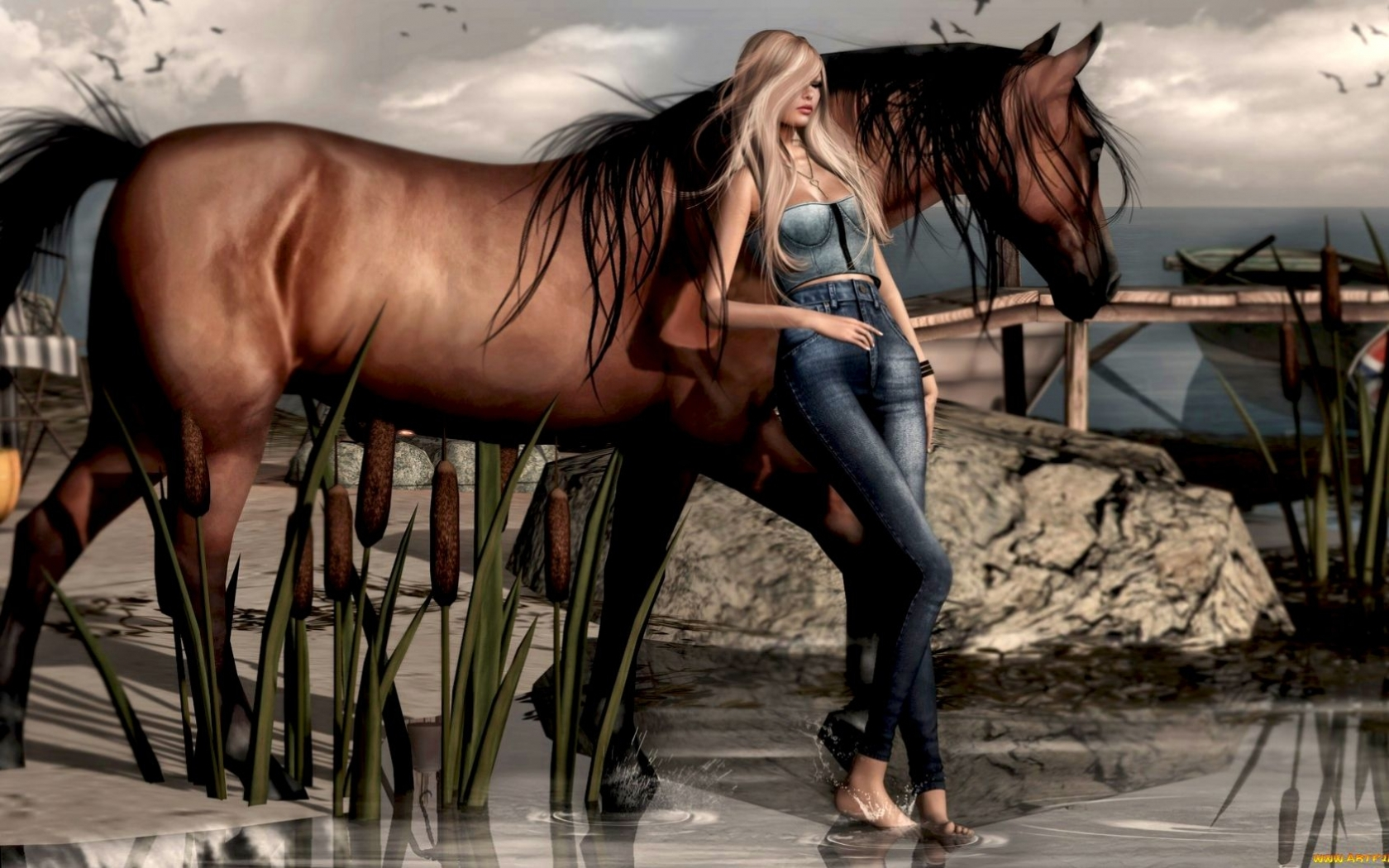 26629 download wallpaper Animals, People, Girls, Horses, Pictures screensavers and pictures for free