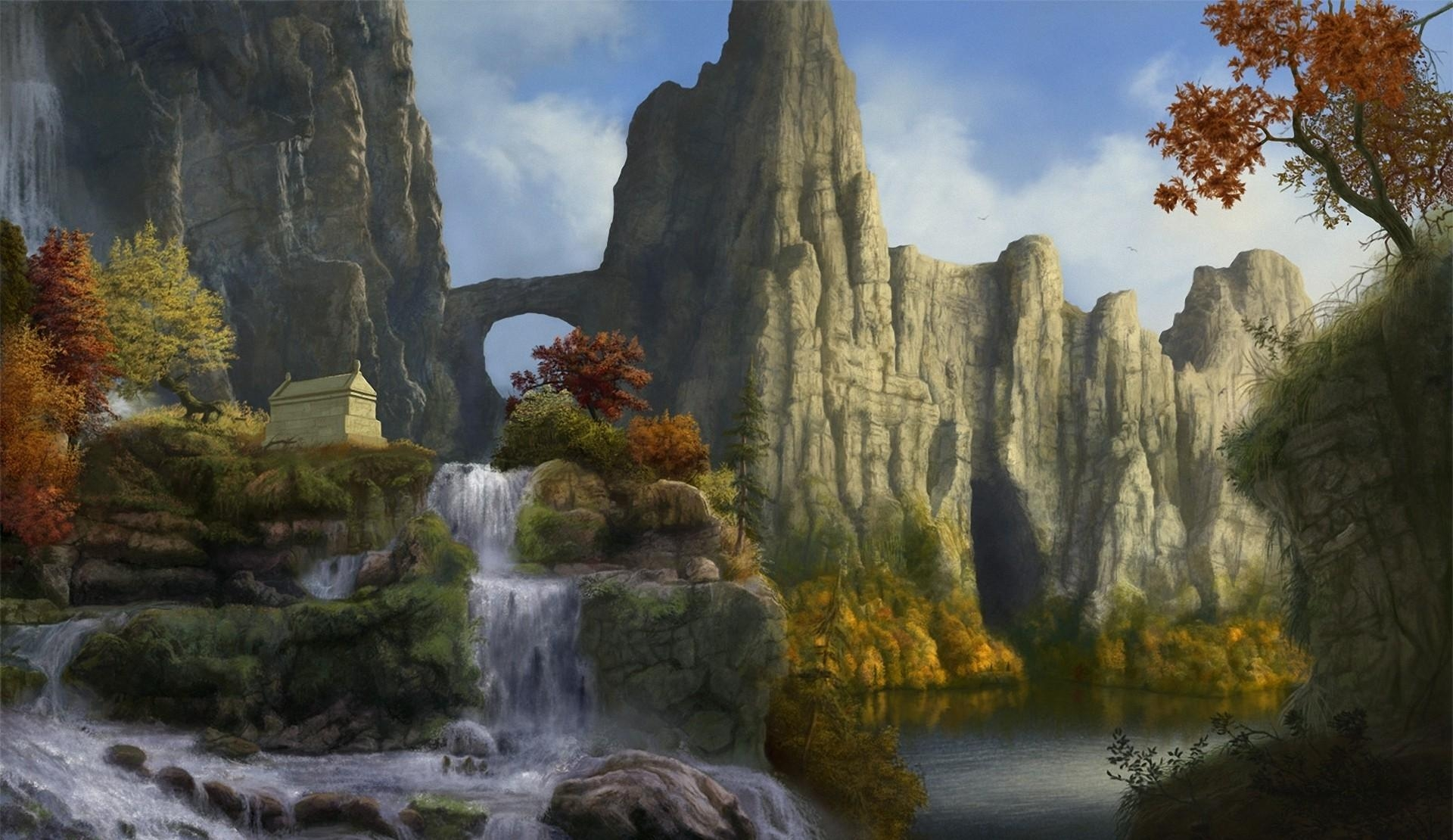 115758 download wallpaper Fantasy, Rocks, Waterfall, Sky, Nature, Trees screensavers and pictures for free