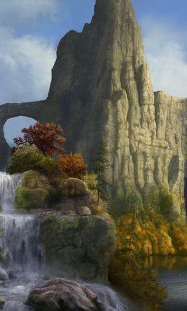 115758 Заставки и Обои Деревья на телефон. Скачать Фэнтези, Скалы, Водопад, Небо, Природа, Деревья картинки бесплатно