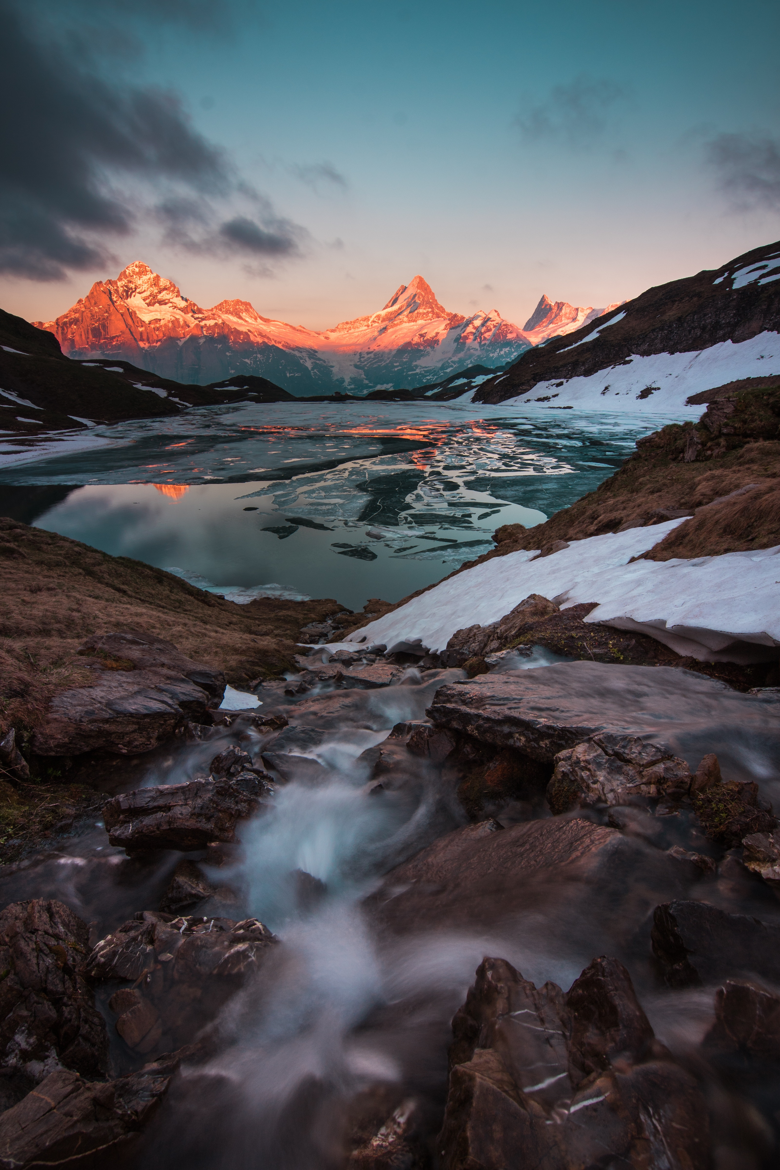 135316 скачать обои Природа, Озеро, Закат, Вечер, Лед, Ландшафт, Швейцария, Горы - заставки и картинки бесплатно