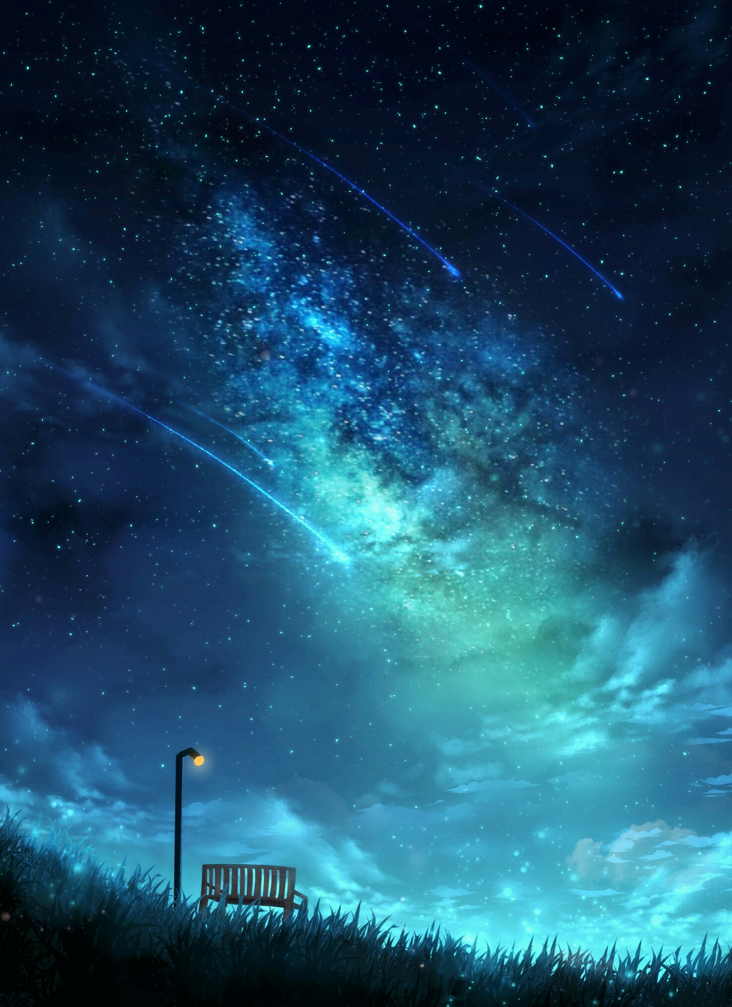 50821 Screensavers and Wallpapers Bench for phone. Download Art, Stars, Night, Starry Sky, Lamp, Lantern, Bench pictures for free