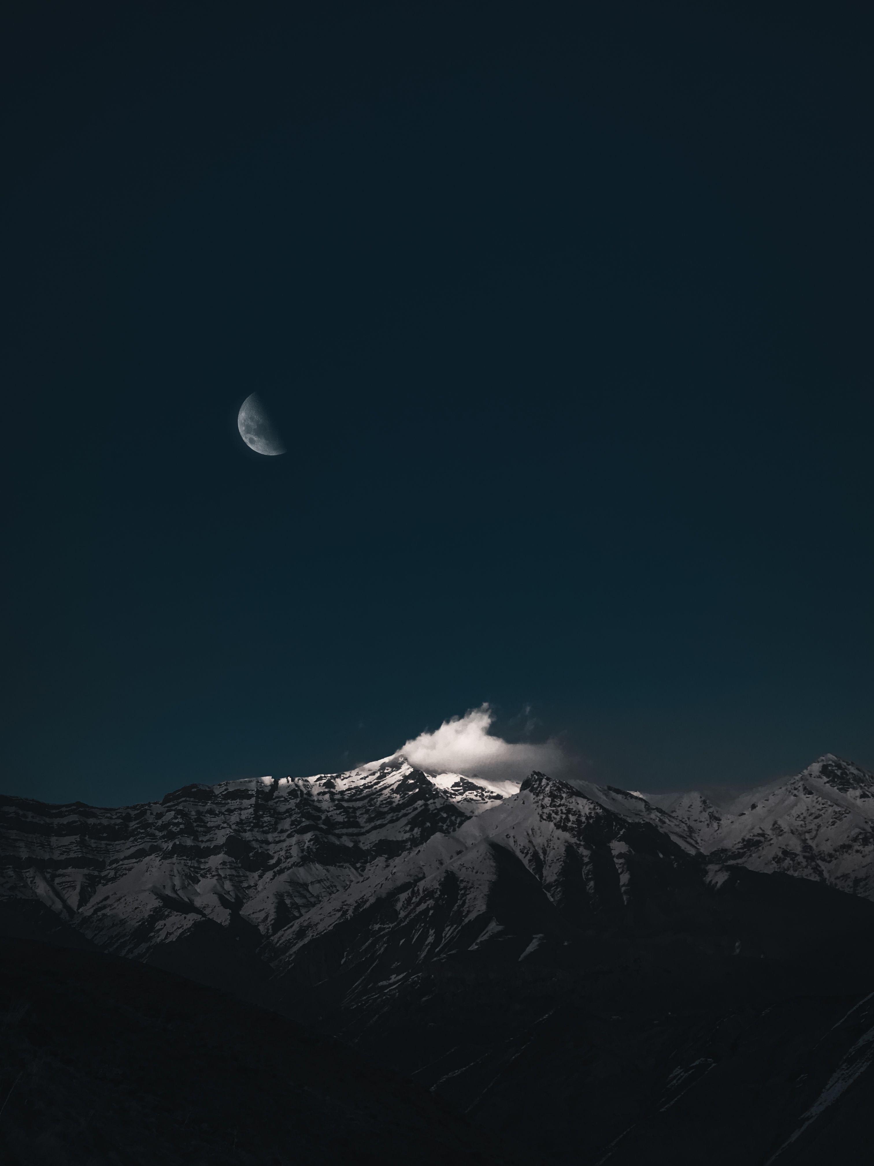 87271 免費下載壁紙 性质, 山, 戈拉, 云, 云端, 月球, 夜, 黑暗的, 黑暗 屏保和圖片