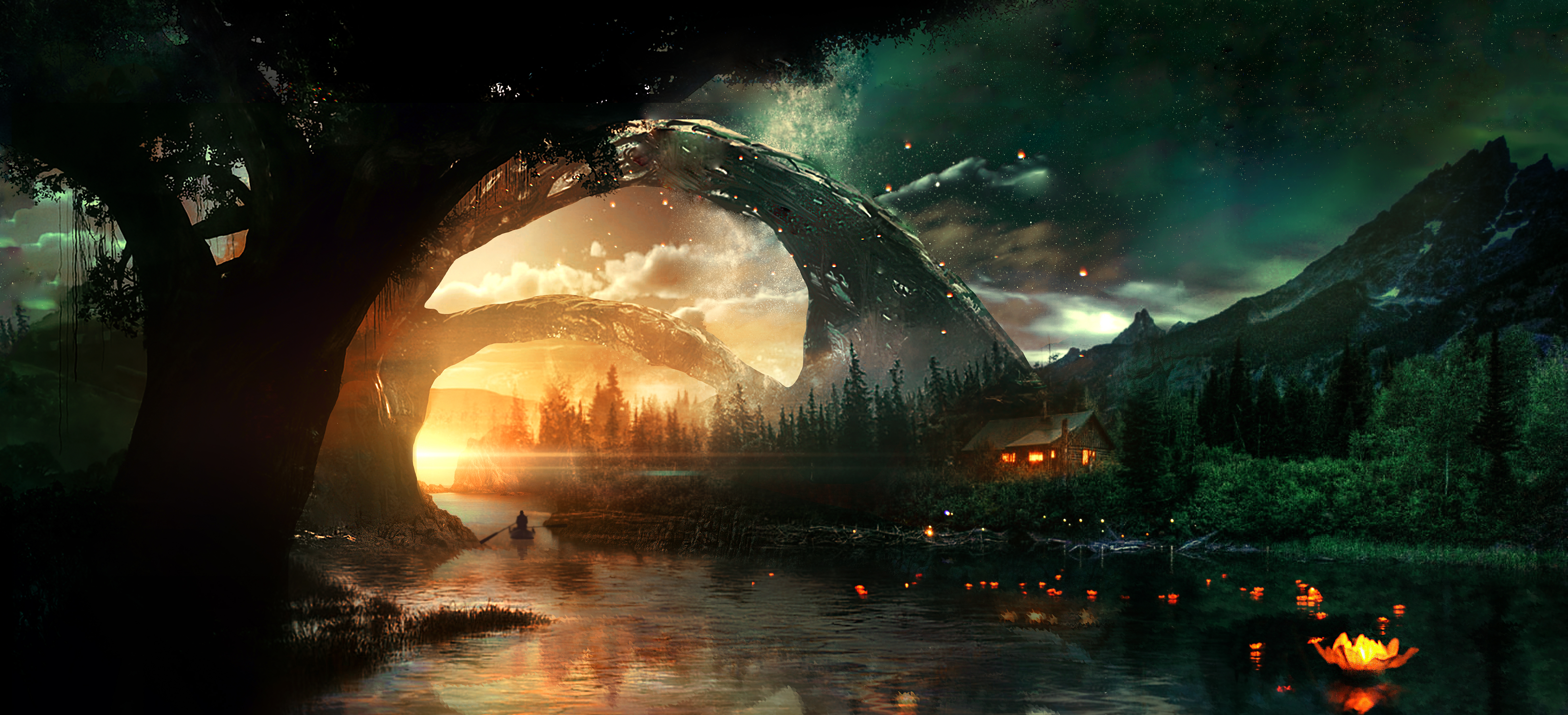 121838 download wallpaper Rivers, Art, Night, Starry Sky, Small House, Lodge, Fantastic screensavers and pictures for free
