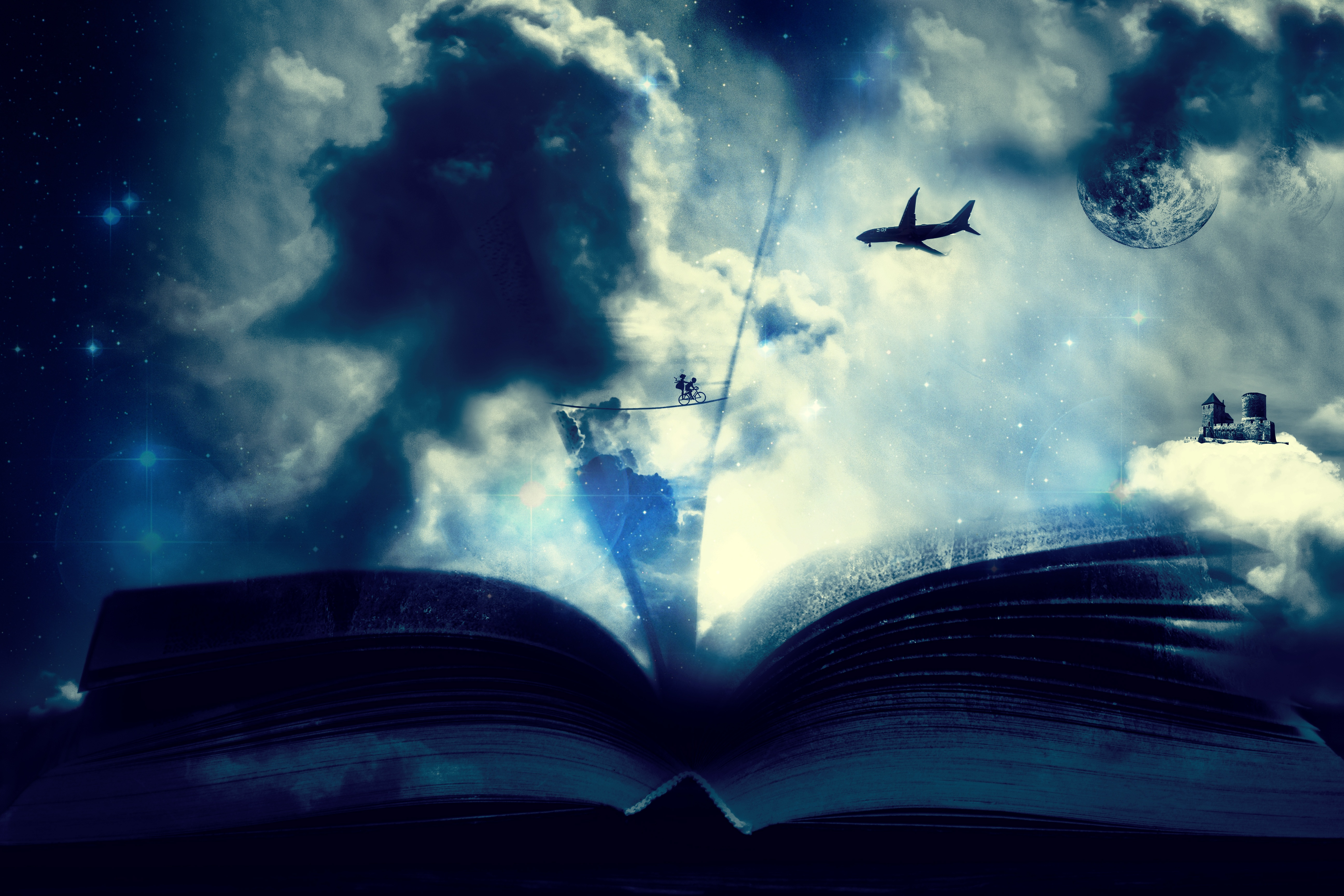 53452 Screensavers and Wallpapers Book for phone. Download Fantasy, Art, Clouds, Plane, Airplane, Book, Bicycle pictures for free