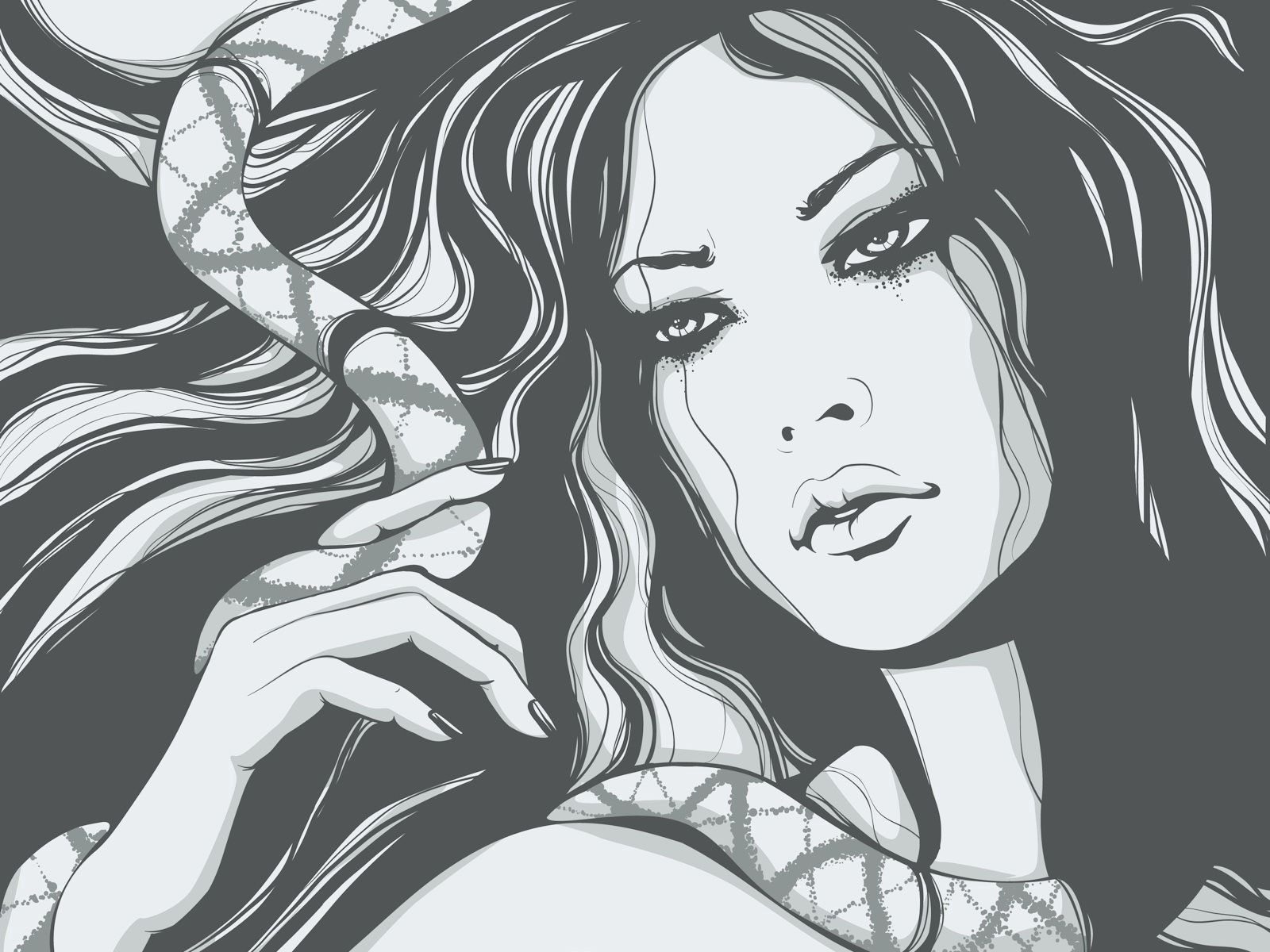 59486 Screensavers and Wallpapers Snake for phone. Download Vector, Girl, Snake, Hair, Graphics, Face pictures for free