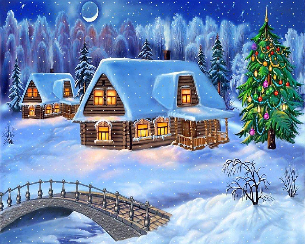 147824 download wallpaper Winter, Holidays, New Year, Snow, Christmas, House, Bridge, Christmas Tree, Postcard screensavers and pictures for free