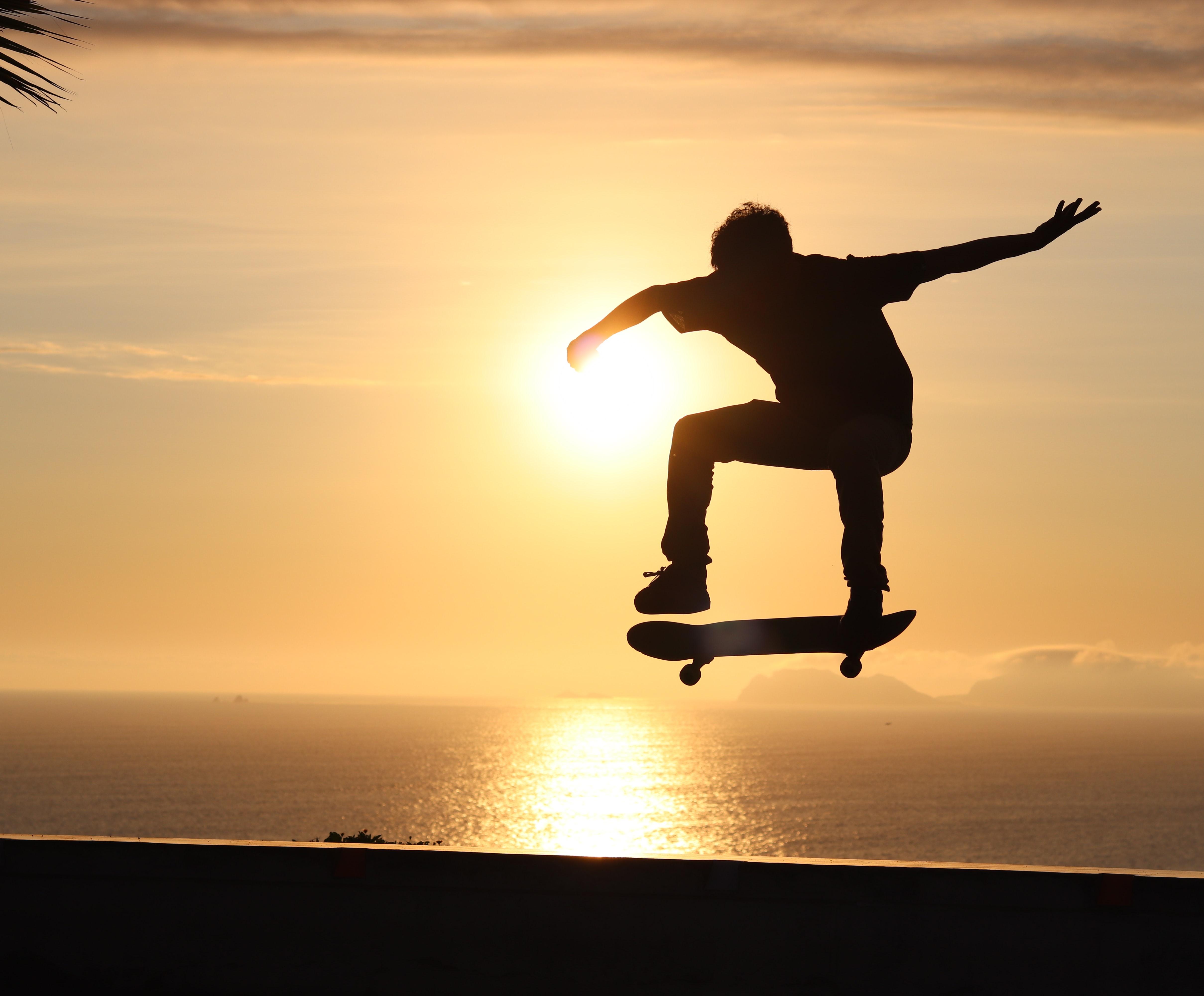 114580 скачать обои Спорт, Скейтборд, Скейт, Скейтер, Трюк, Силуэт, Закат - заставки и картинки бесплатно