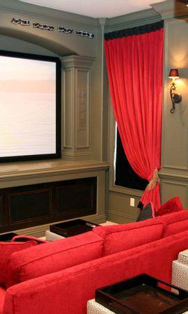 151218 descargar fondo de pantalla Miscelánea, Misceláneo, Habitación, Cuarto, Cine, Sofá, Pantalla, Estilo, Interior: protectores de pantalla e imágenes gratis
