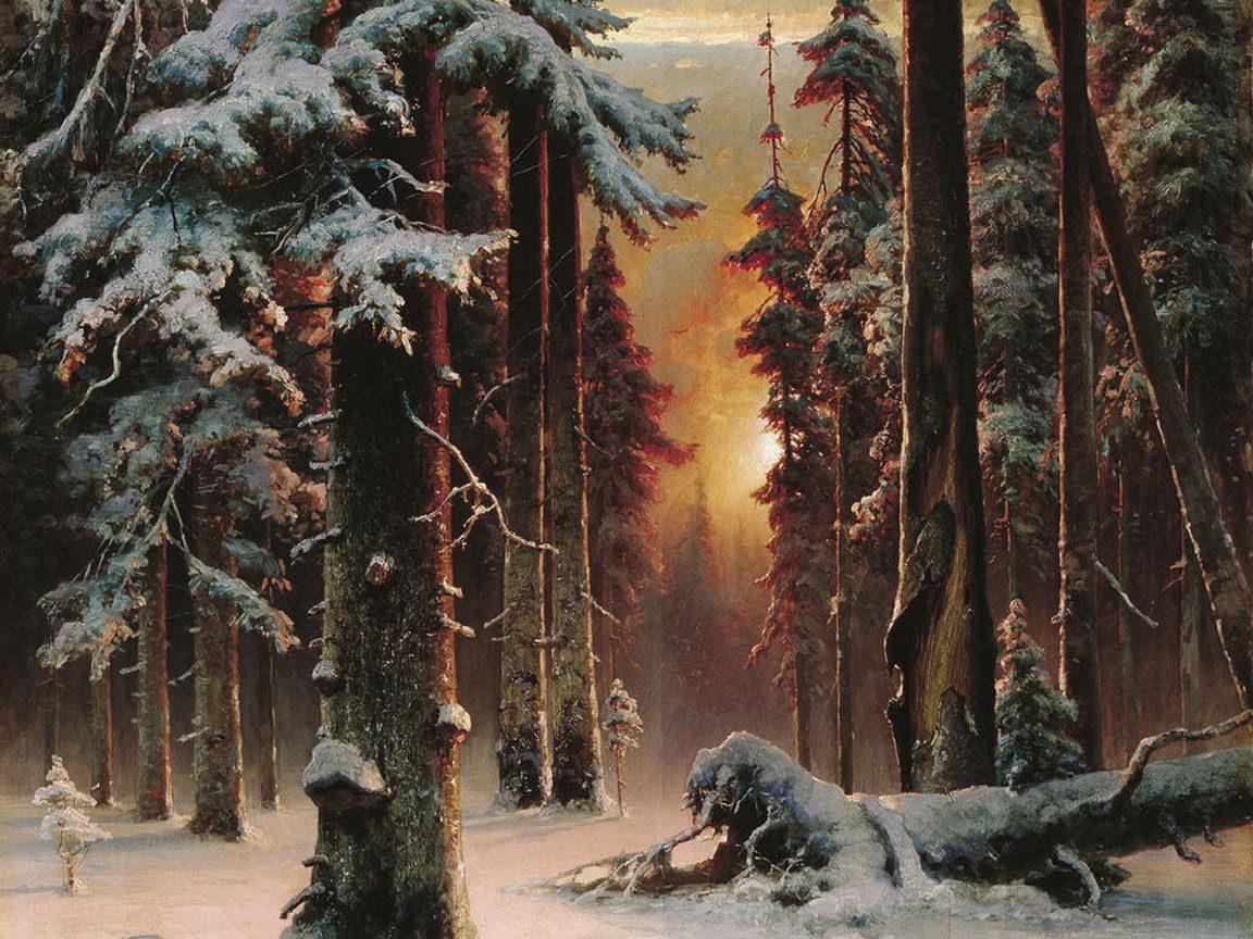 18988 скачать обои Пейзаж, Зима, Деревья, Закат, Снег, Рисунки - заставки и картинки бесплатно