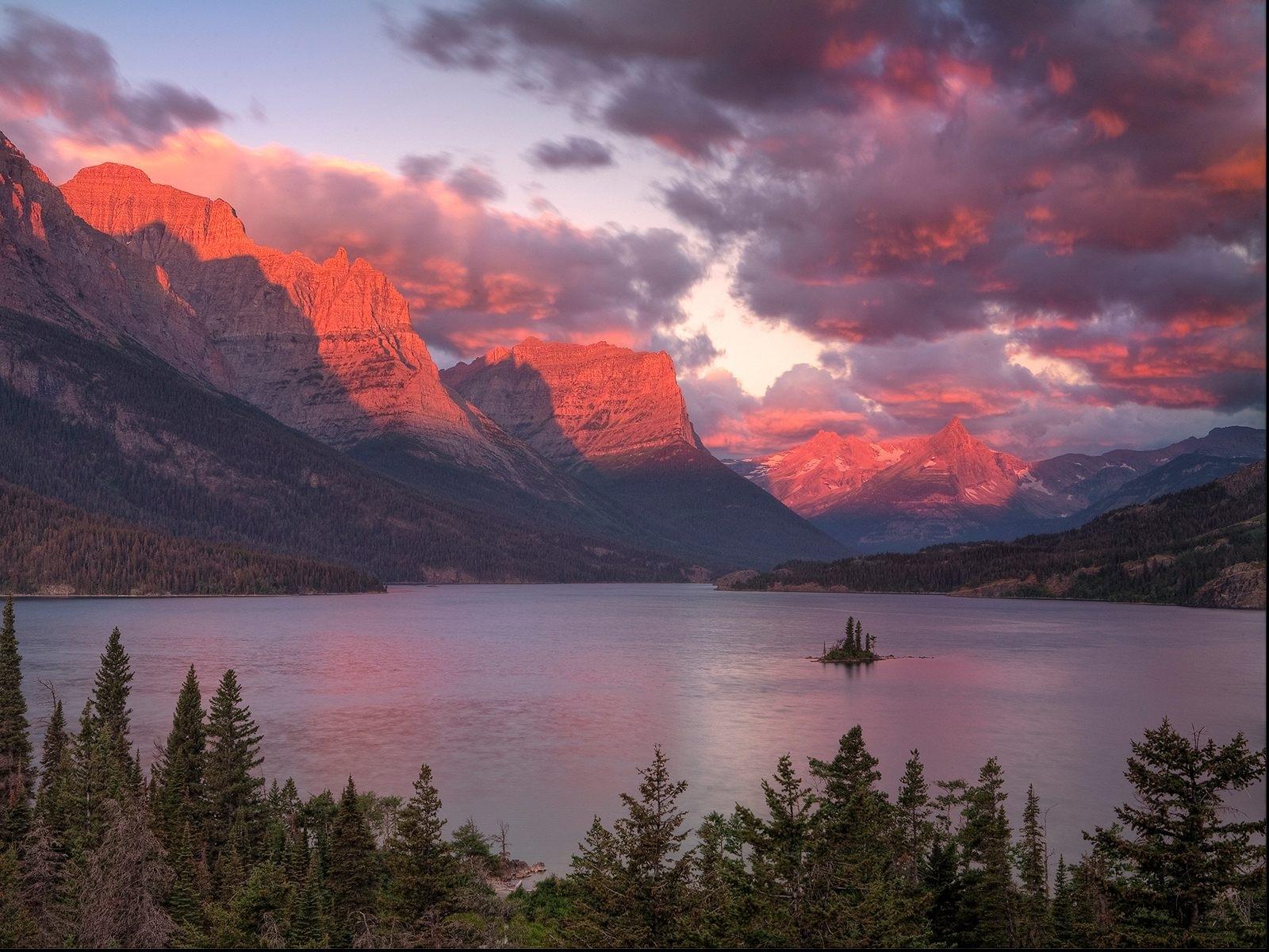 10148 скачать обои Пейзаж, Закат, Небо, Горы, Озера - заставки и картинки бесплатно