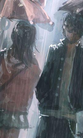 31433 скачать обои Люди, Дождь, Рисунки - заставки и картинки бесплатно