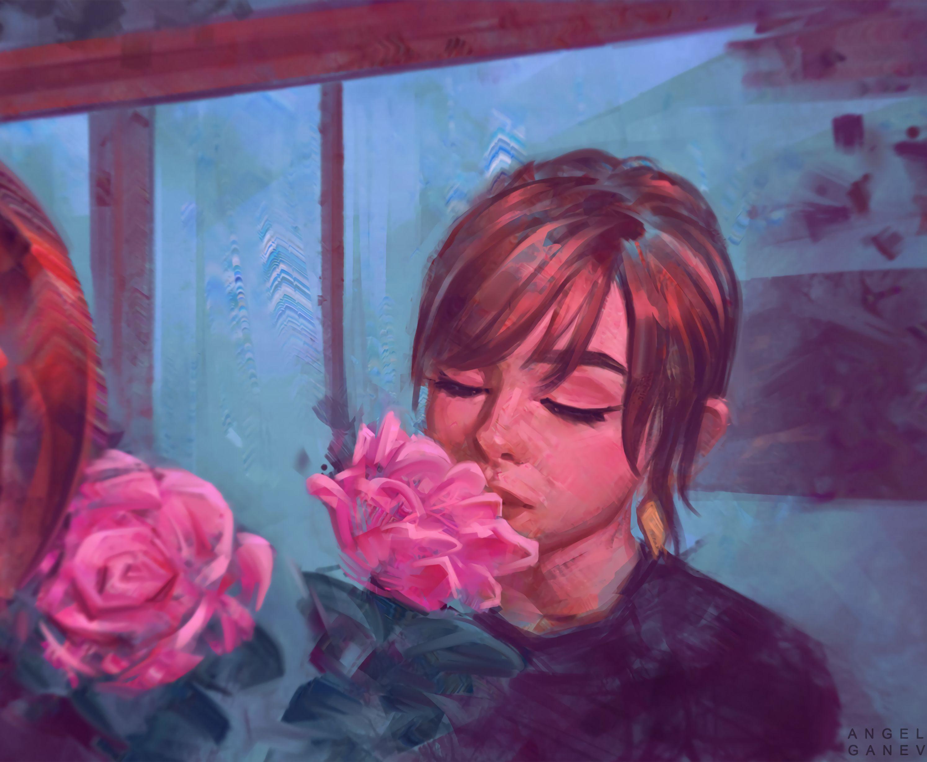 119685 скачать обои Девушка, Арт, Цветок, Нежность - заставки и картинки бесплатно
