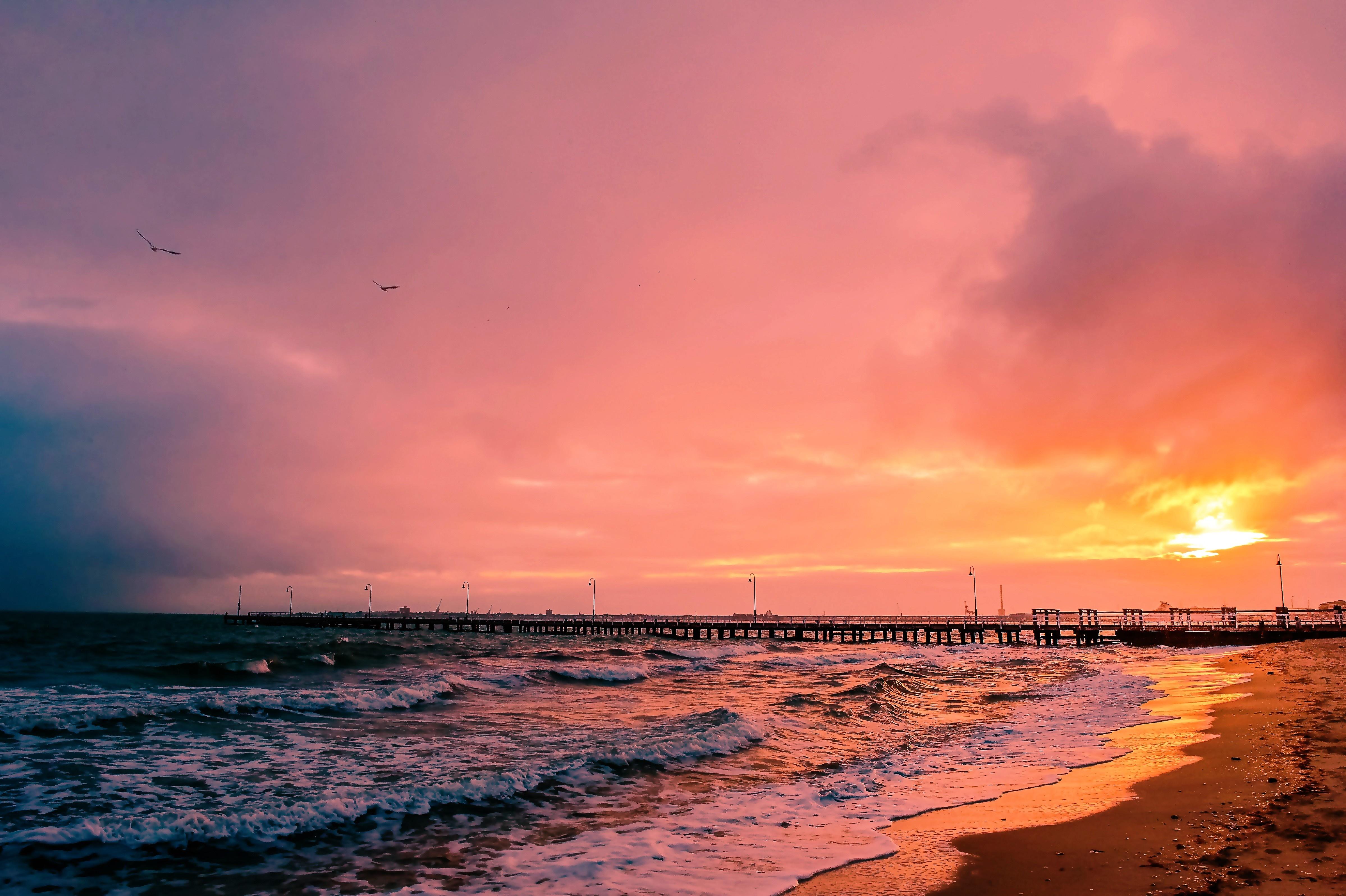 62609壁紙のダウンロード自然, 日没, 海, 橋脚, 埠頭, 風景-スクリーンセーバーと写真を無料で