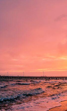 62609 скачать обои Природа, Закат, Море, Пирс, Пейзаж - заставки и картинки бесплатно