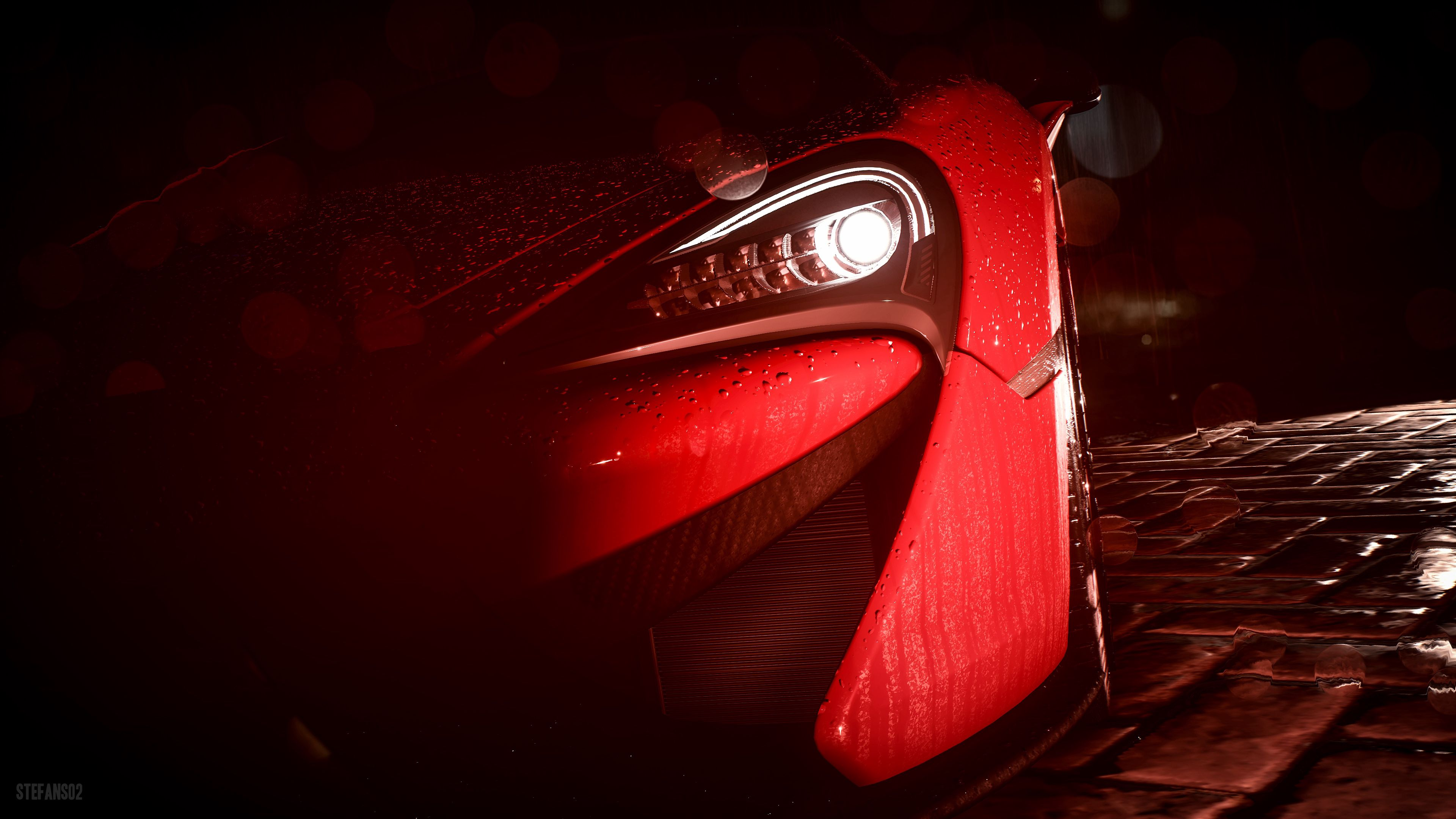 155233 download wallpaper Cars, Car, Headlight, Drops, Rain, Art screensavers and pictures for free