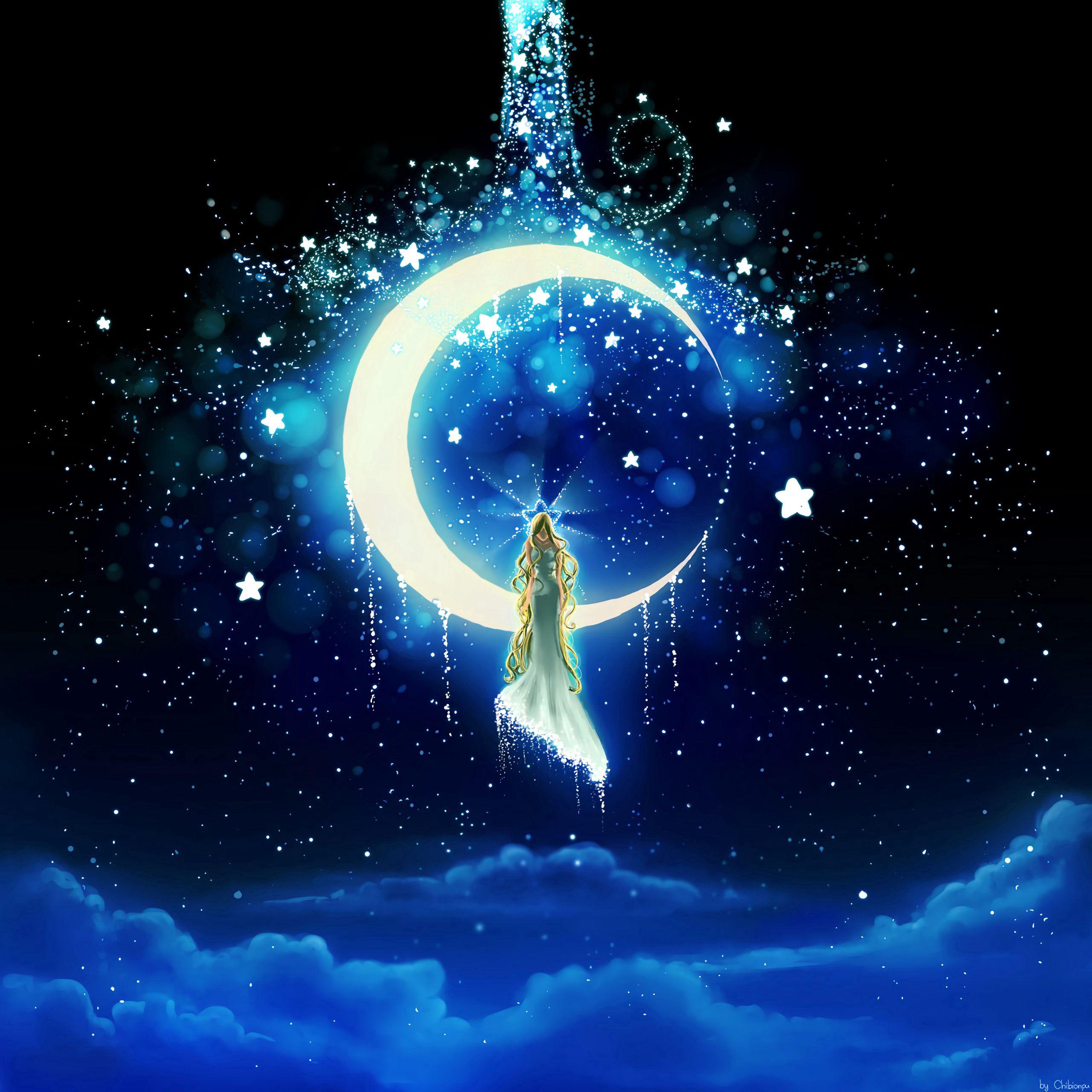 56270 скачать обои Луна, Девушка, Арт, Звезды, Ночь - заставки и картинки бесплатно