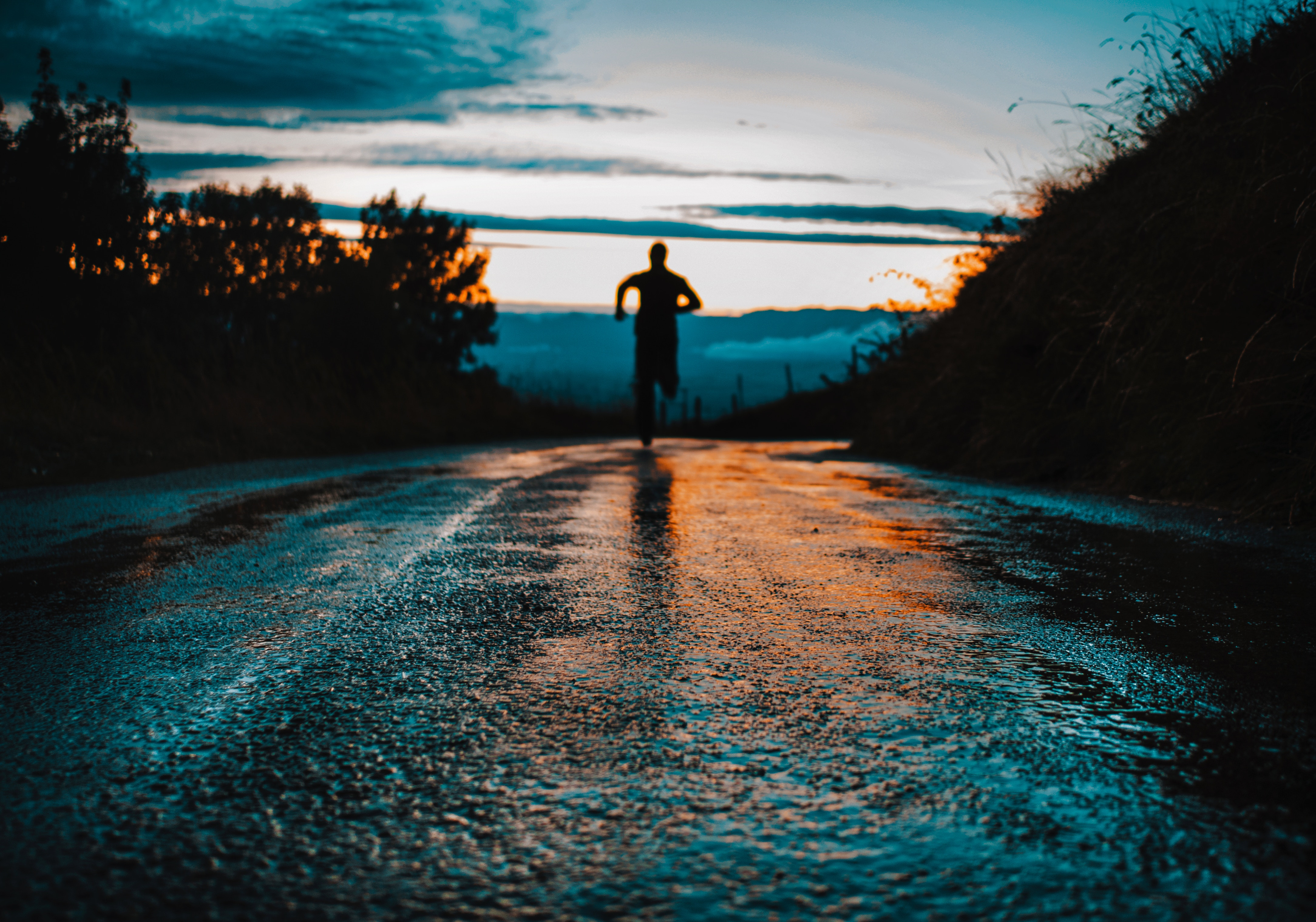 156887 Screensavers and Wallpapers Wet for phone. Download Dark, Silhouette, Road, Wet, Asphalt, Run, Humid, Running pictures for free
