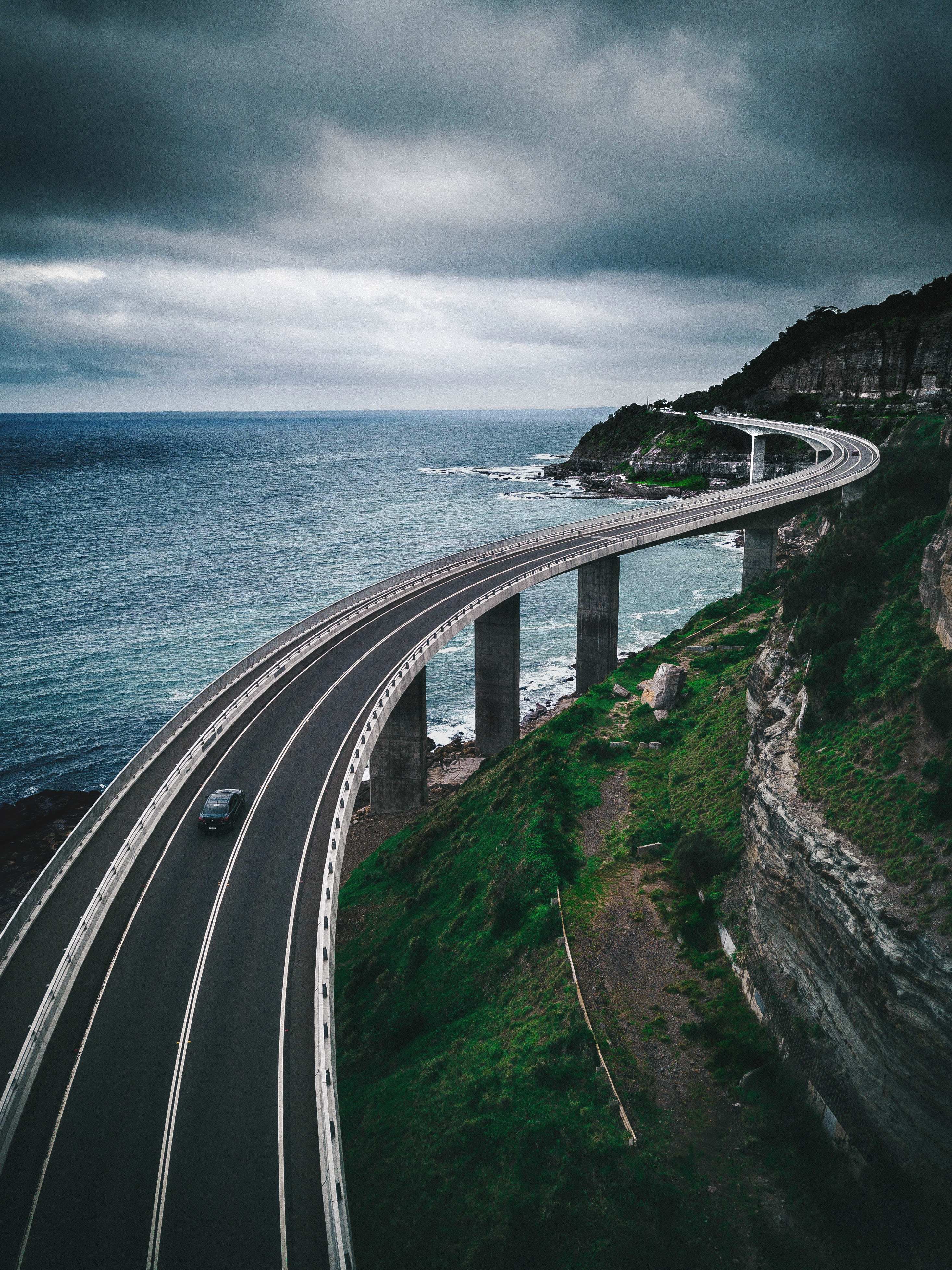 56230 Заставки и Обои Дорога на телефон. Скачать Дорога, Природа, Горы, Море, Мост картинки бесплатно