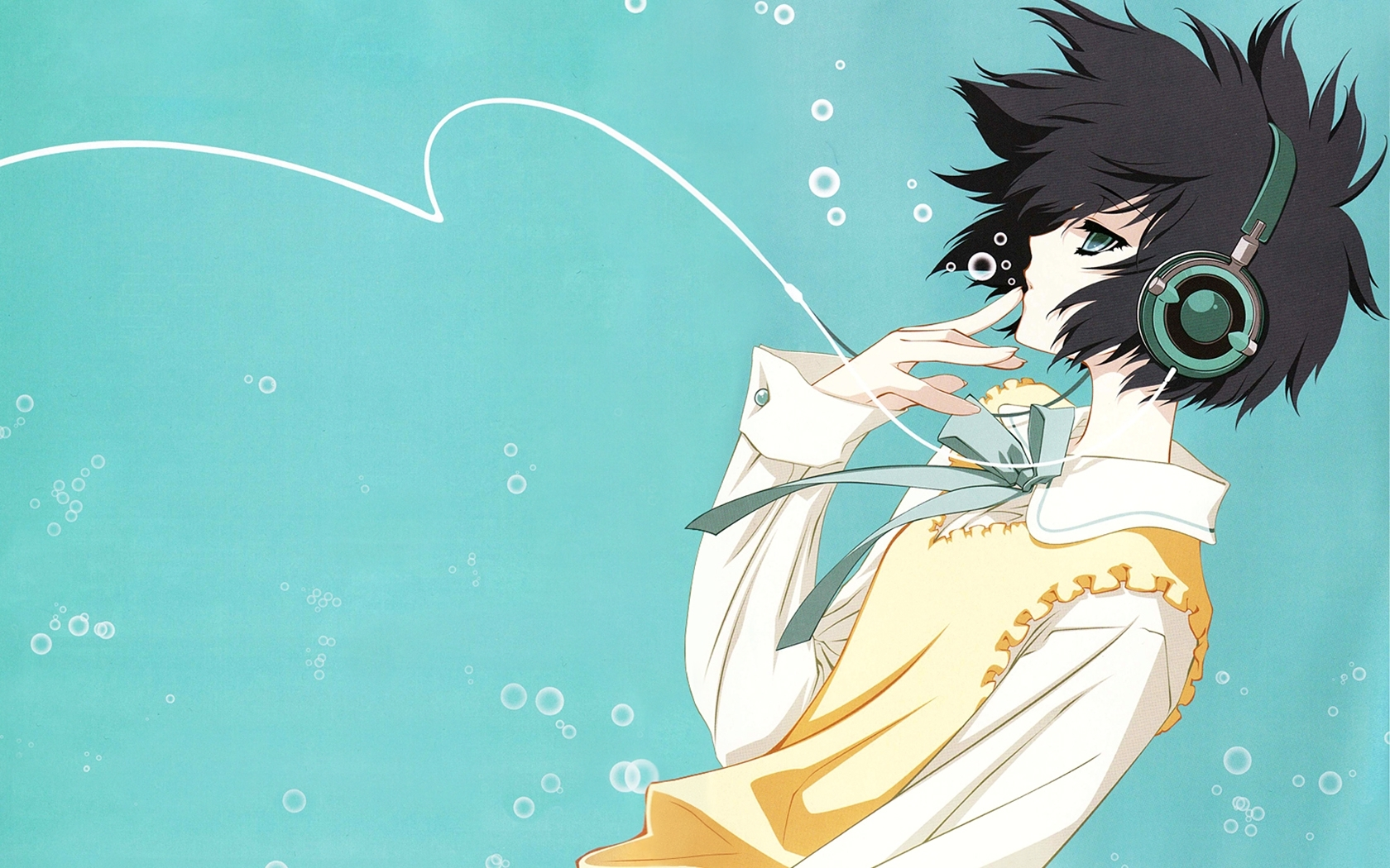 25834 download wallpaper Anime, Men, Headphones screensavers and pictures for free
