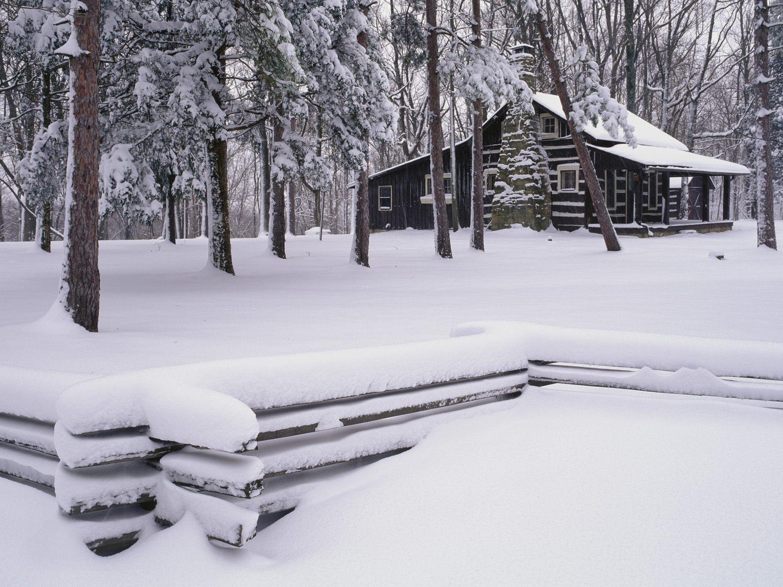 8254 скачать обои Пейзаж, Зима, Дома, Деревья - заставки и картинки бесплатно