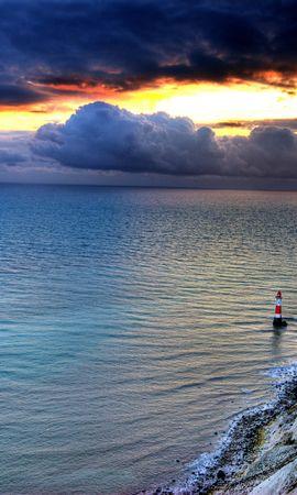 151172 скачать обои Природа, Море, Маяк, Скала, Закат - заставки и картинки бесплатно