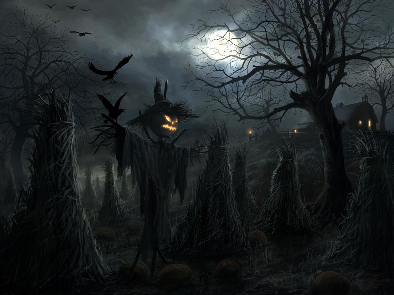 13757 скачать обои Праздники, Пейзаж, Хэллоуин (Halloween), Ночь, Луна - заставки и картинки бесплатно