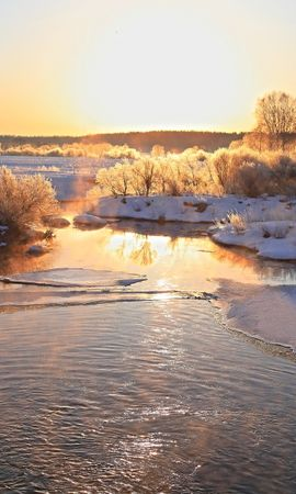 22618 скачать обои Пейзаж, Зима, Река, Деревья, Закат, Снег - заставки и картинки бесплатно