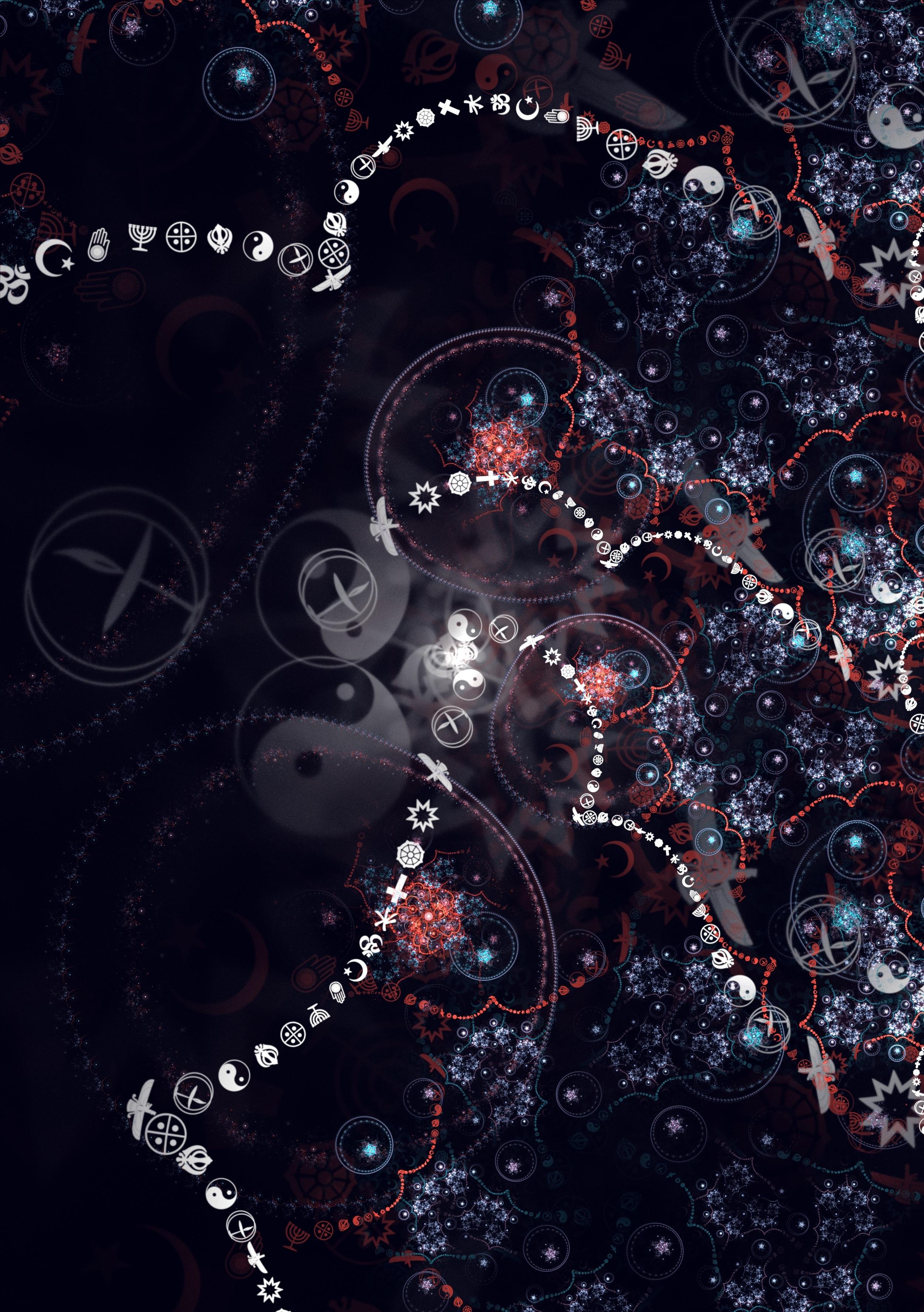 74231 Hintergrundbild herunterladen Abstrakt, Patterns, Symbole, Zeichen, Scheinen, Brillanz, Fraktale - Bildschirmschoner und Bilder kostenlos