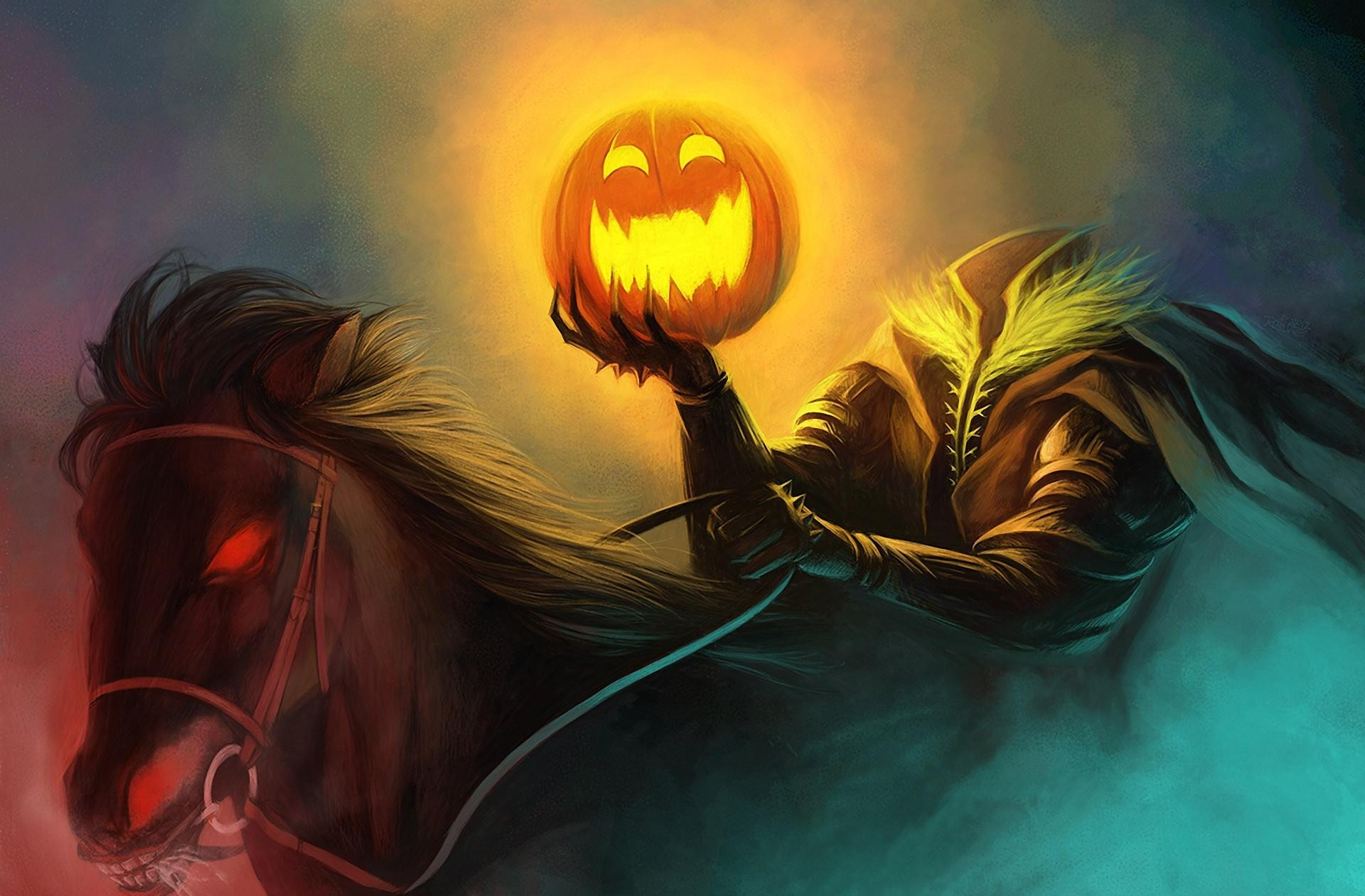 93218 download wallpaper Pumpkin, Halloween, Holidays, Holiday, Horse, Headless Horseman, Headless Rider screensavers and pictures for free