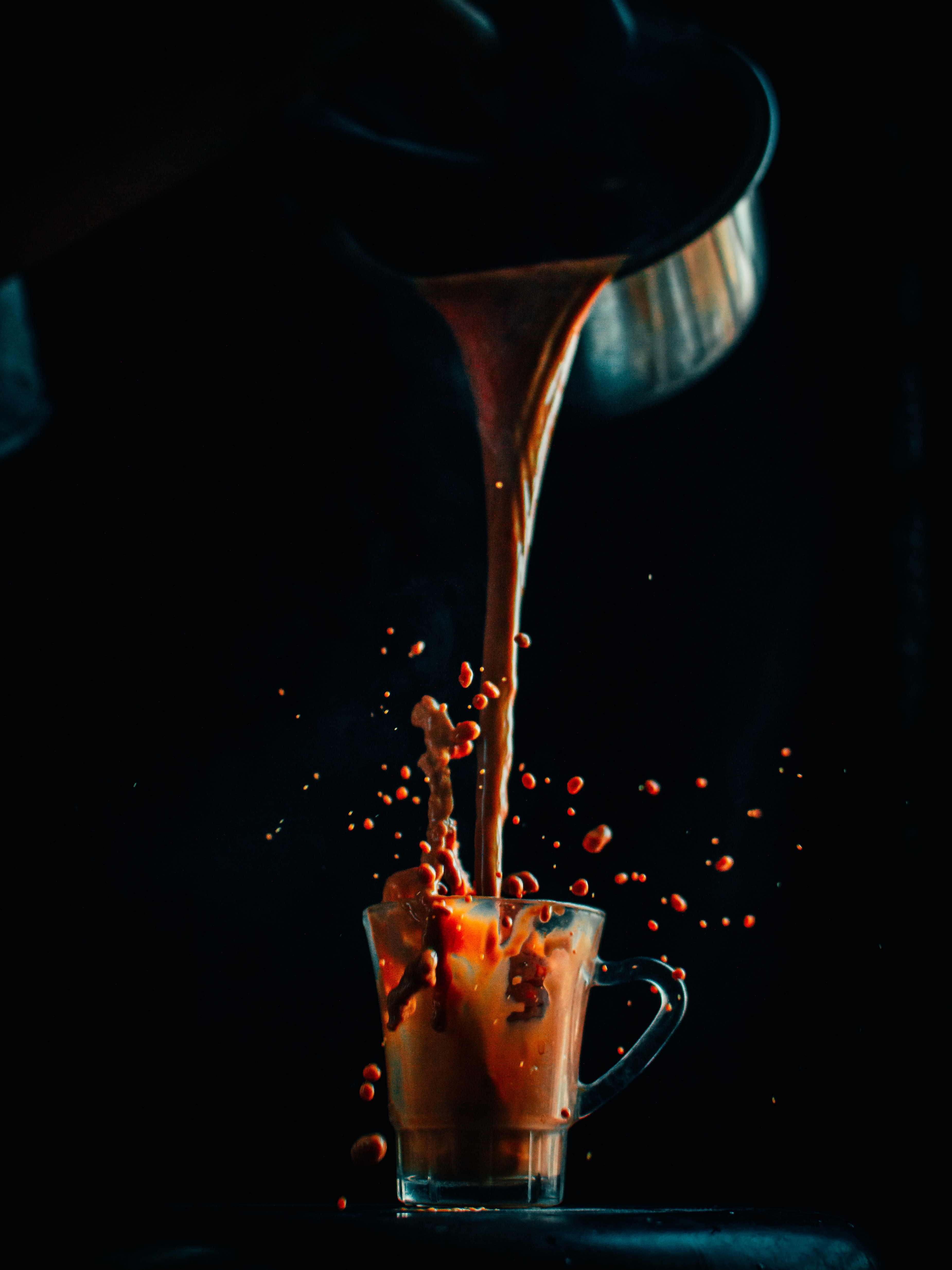 141146 download wallpaper Food, Cup, Coffee, Spray, Drops, Drink, Beverage screensavers and pictures for free